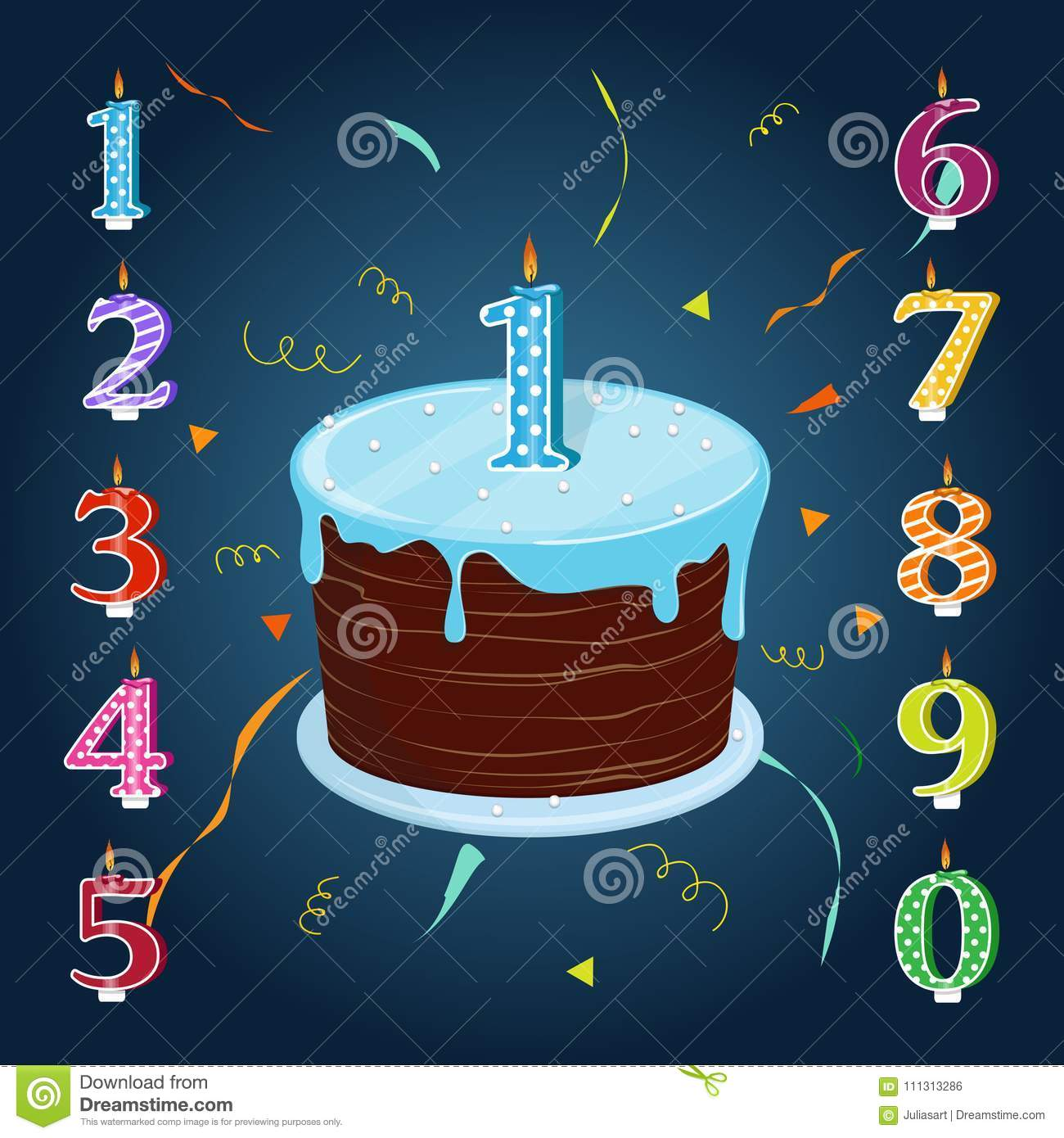 Happy Birthday Cake With Candles Numbers For Each Year Stock