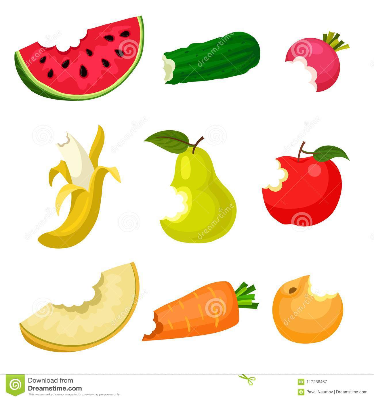 Flat vector set of bitten fruits and vegetables. Natural and tasty food. Healthy nutrition. Design for poster, banner or