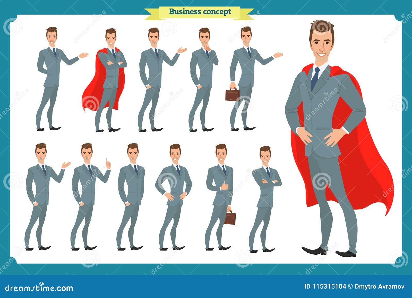 Set biznesmeni przedstawia w różnorodnej akci Szczęśliwy mężczyzna w garniturze Ludzie charakterów