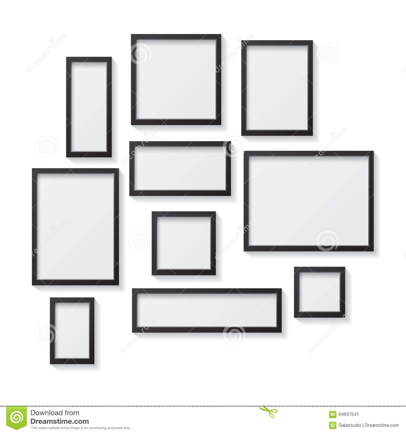 white blank picture frames hanging on white stock image 73111741. Black Bedroom Furniture Sets. Home Design Ideas