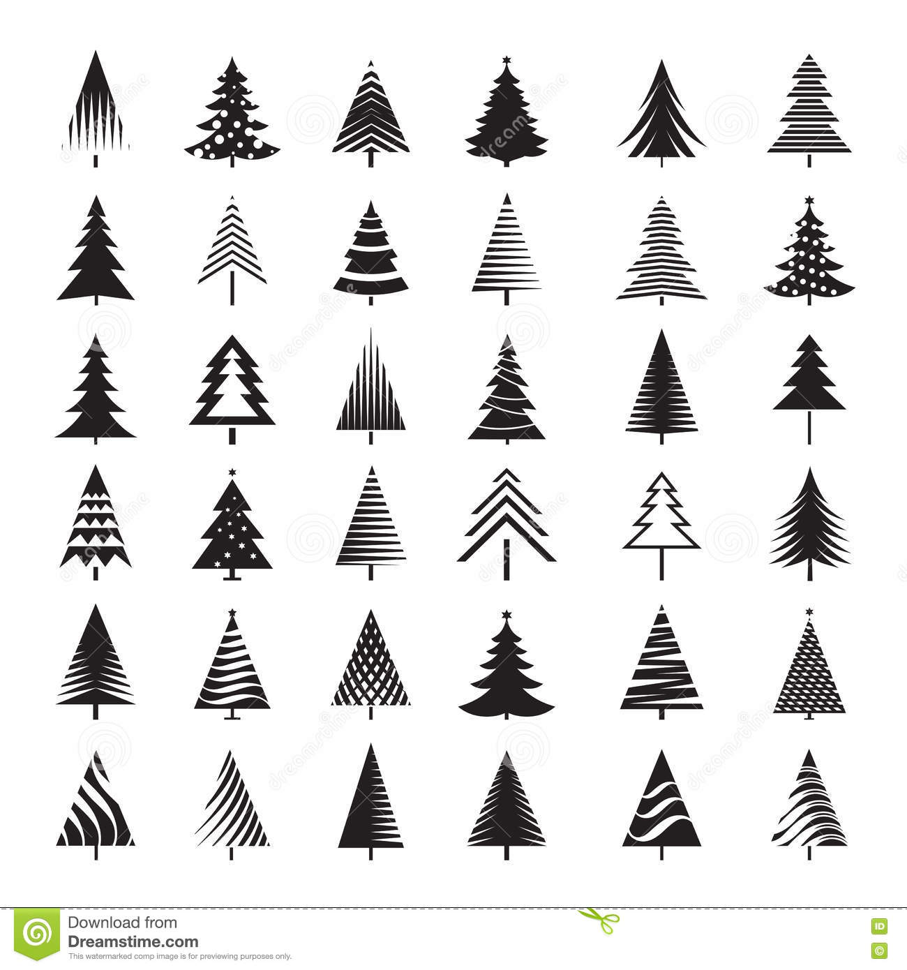 Set Of Black Christmas Tree Vector Illustrations Stock