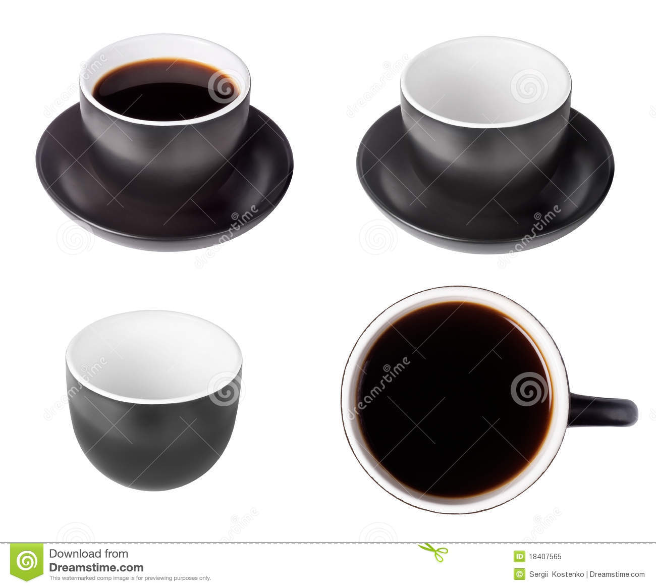 Set Of Black Coffee Espresso Cups Stock Image