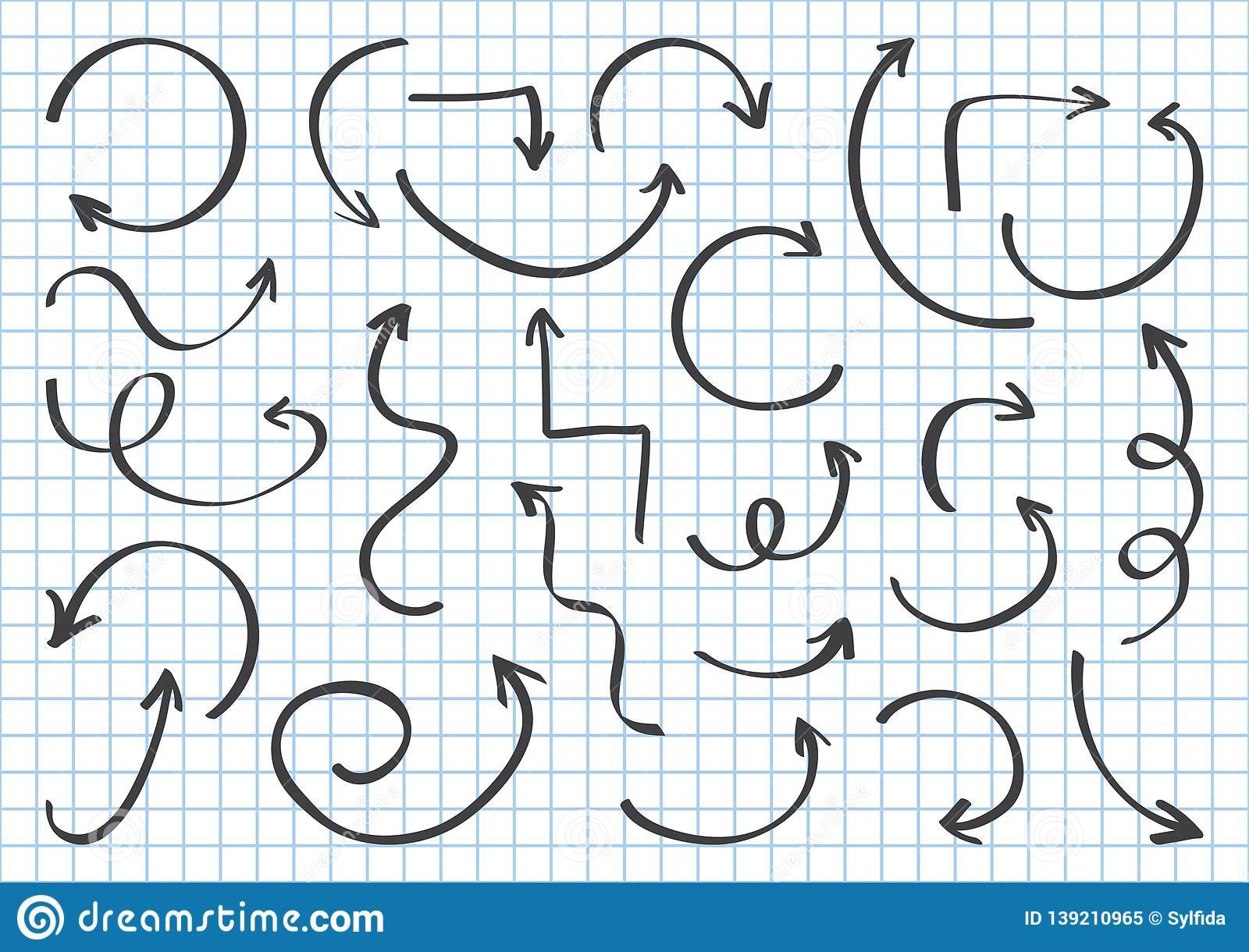 Set of black different arrows hand draw on checkered geometric background with blue lines. Vector illustration