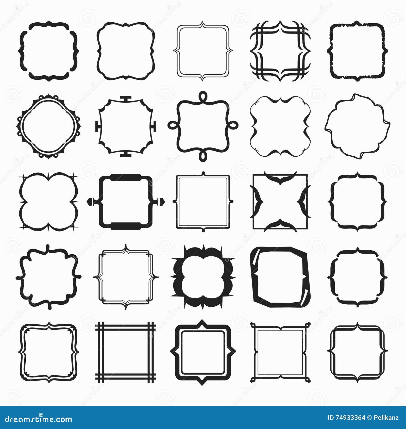 Set Of Black Different Styles Line Emblems And Frames Design ...
