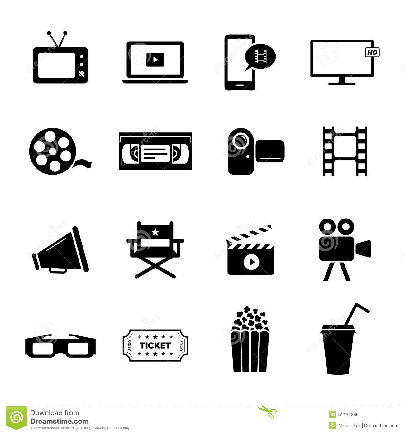 Set Of Black Flat Icons Related To Cinema Films And Movie