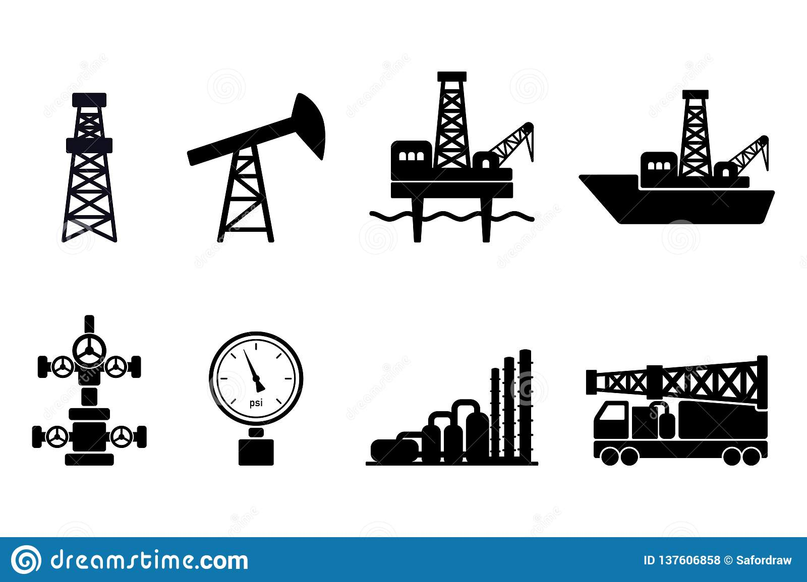 Set of black flat vector oil and gas icons: onshore and offshore drilling signs, drilling rig, sucker rod pump, gas processing