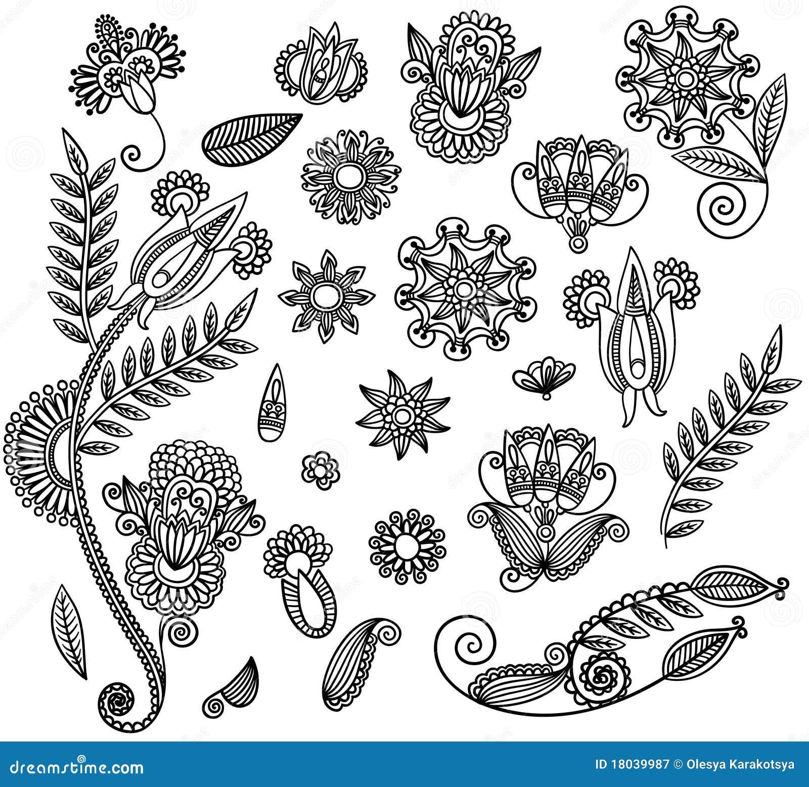 Set Of Black Flower Design Stock Vector Illustration Of Flower