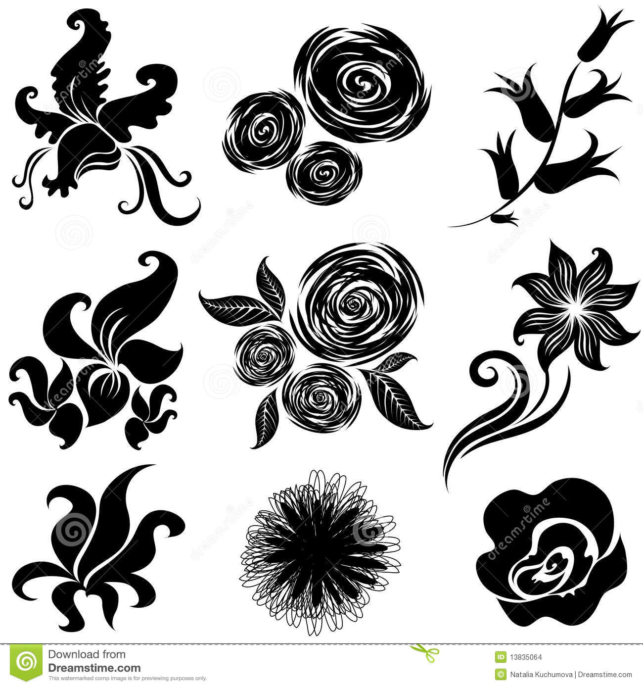 Set Black Flower Design Elements Stock Image