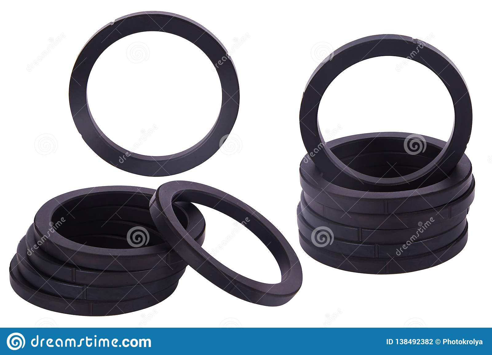 Set Of Black Gaskets Isolated  Oil Seals For Hydraulic