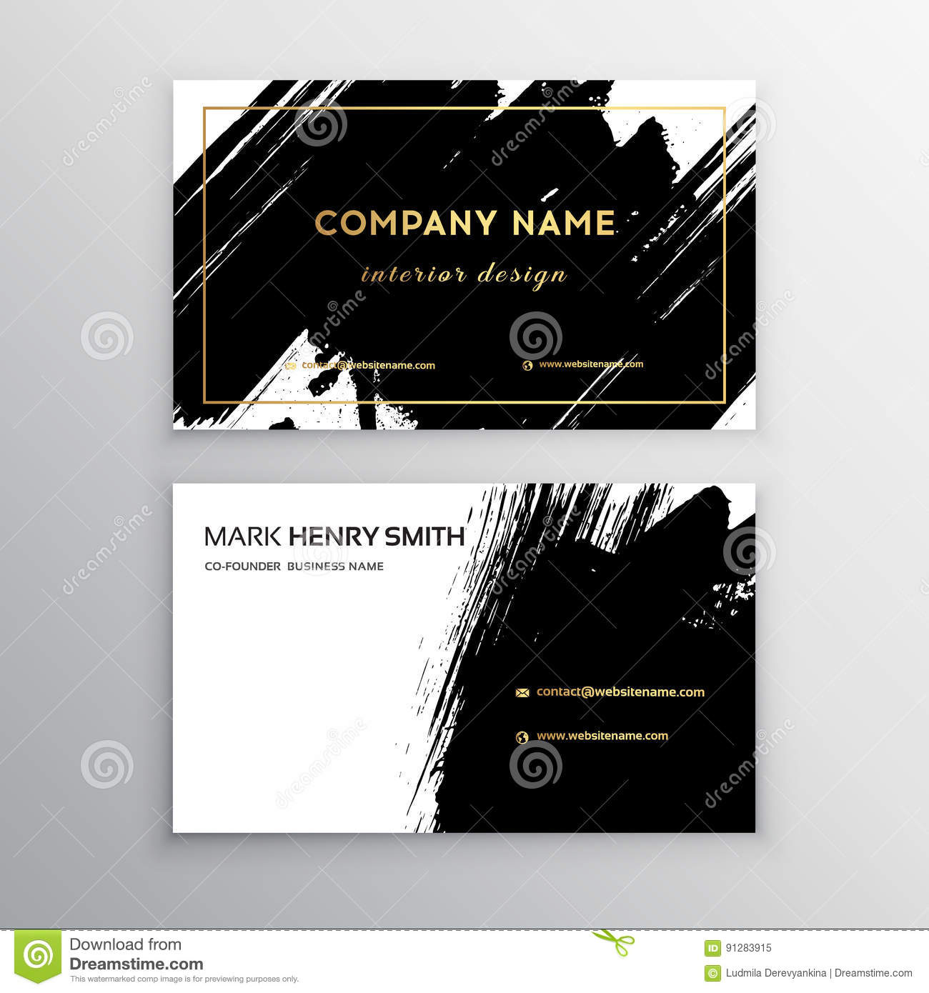 Set of black and gold design business card abstract - Business name for interior design company ...