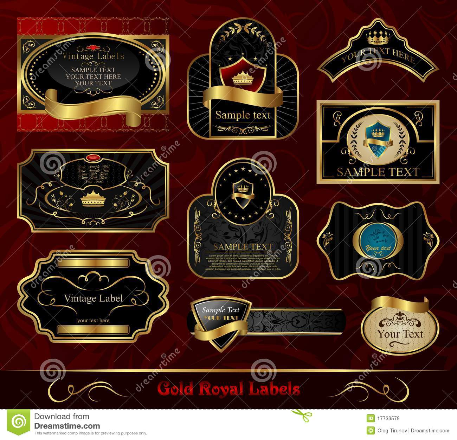 12a4386ba55 Set Black Gold-framed Label Stock Vector - Illustration of fleur ...