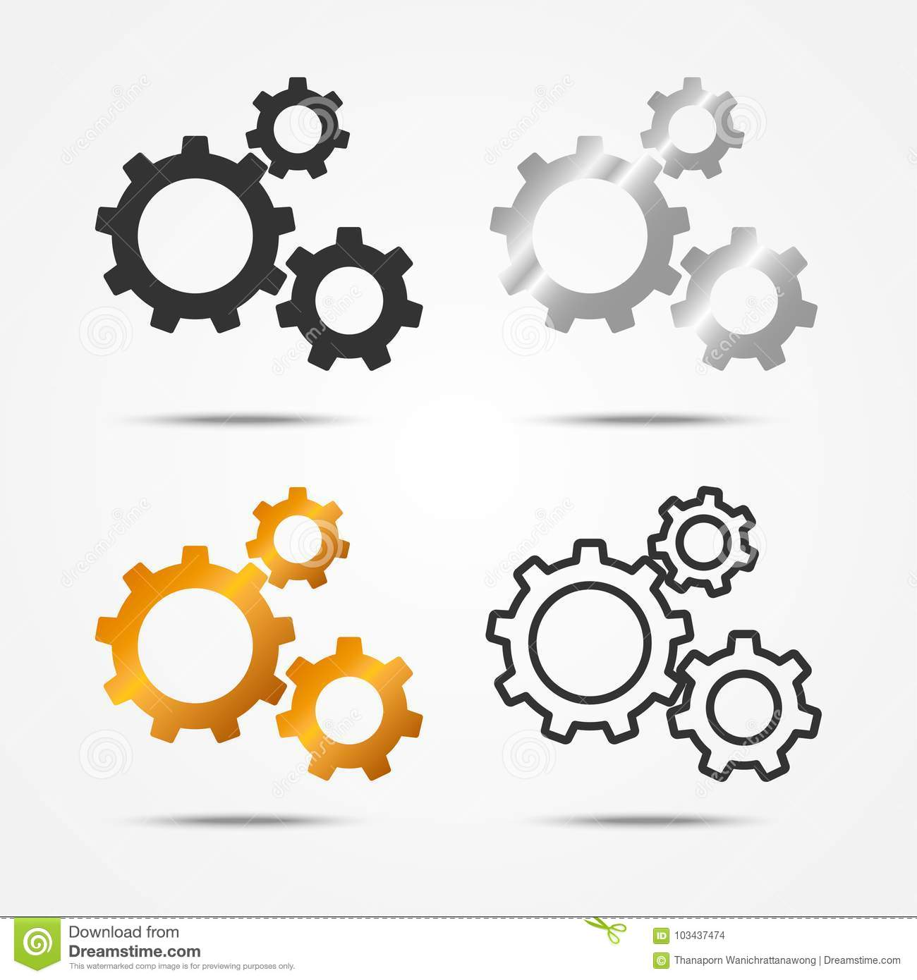 Set of black, gray, silver and gold 3 gears or cogs sign simple icon with shadow on white background