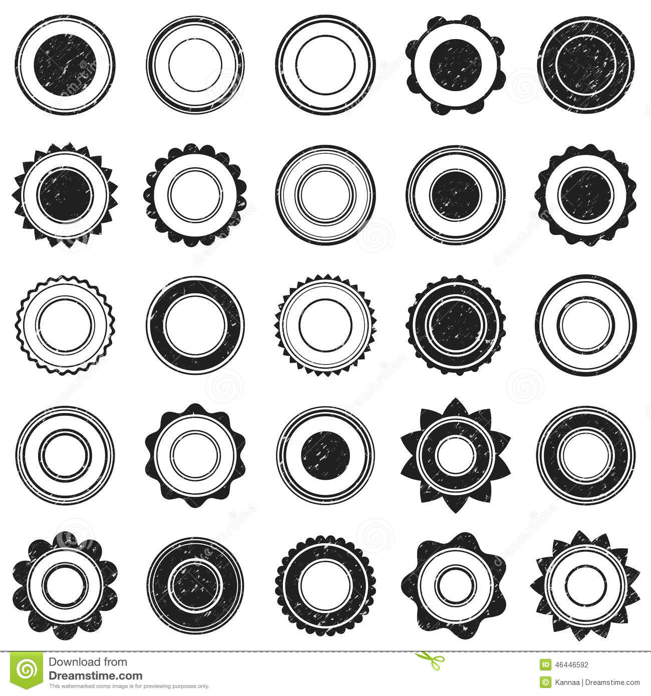 Set Of Black Grunge Stamp. Round Shapes. Vector Stock Vector - Image ...