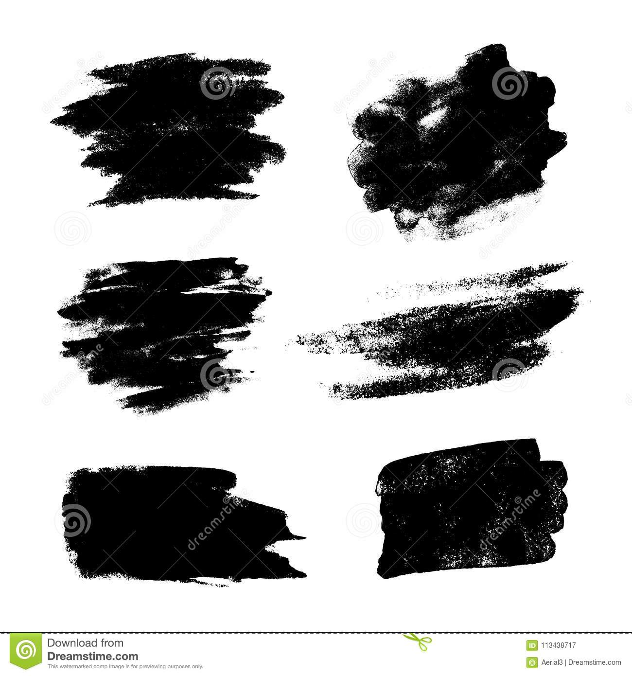 Set Of Black Grunge Vector Brushes Stock Vector