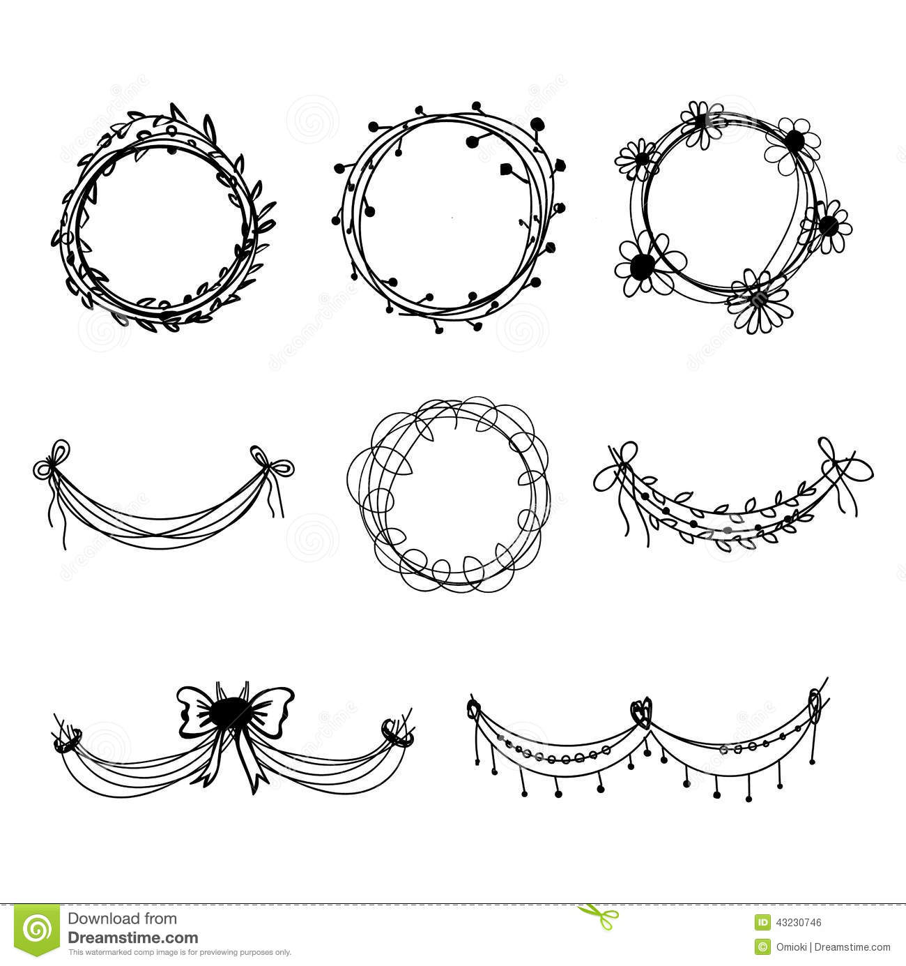 Black and white floral wreath stock vector image 65241515 - Black And White Floral Wreath Stock Vector Image 65241515 1300x1390 Set