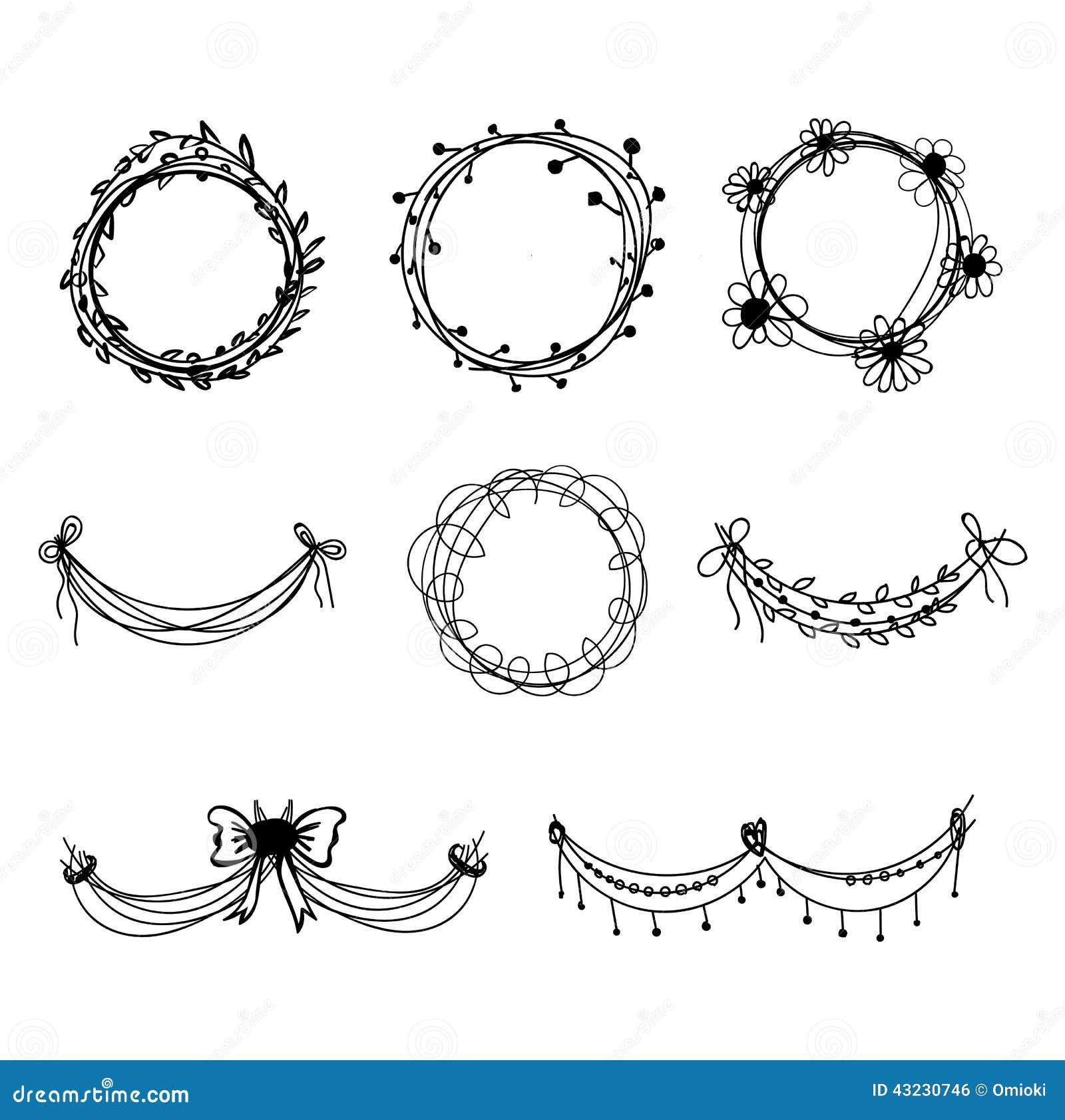 Set Of Black Hand drawn Floral Design Elements Stock Vector Image