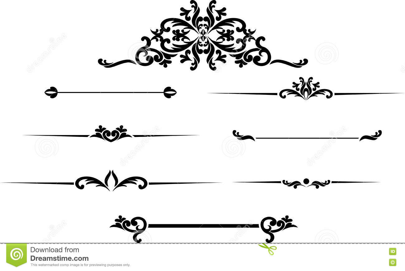 Collection Of Hand Drawn Vintage Frame For Text Decoration ...