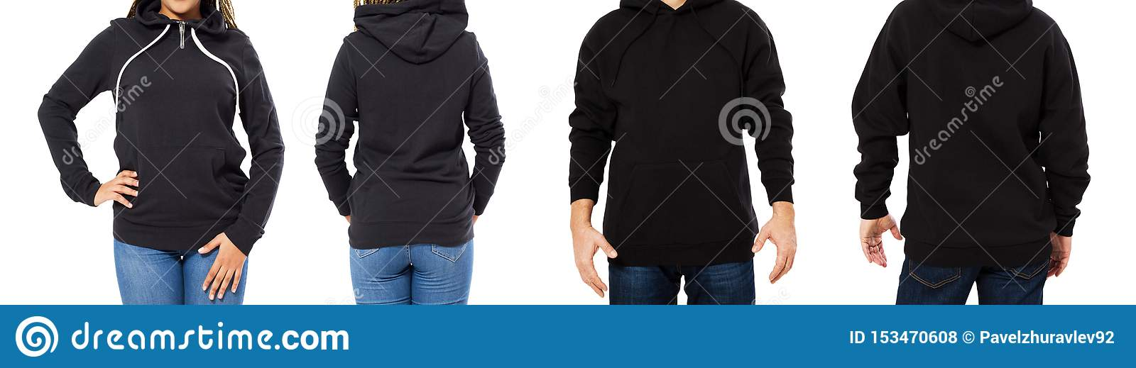 Set Black Hoodie Mockup Isolated Front And Back Views Man And