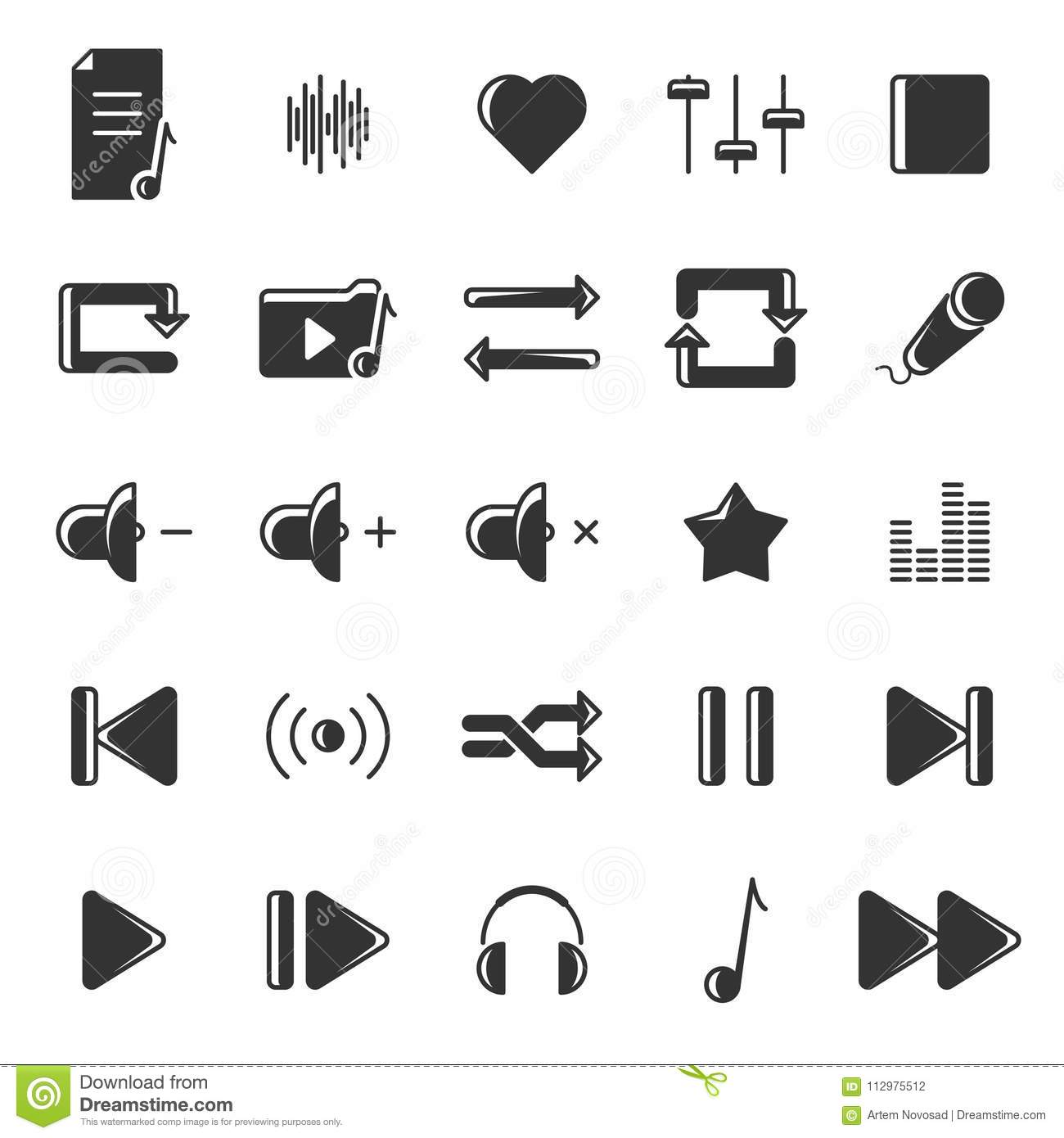 A set of black icons relating to music and its reproduction. Vector on white background