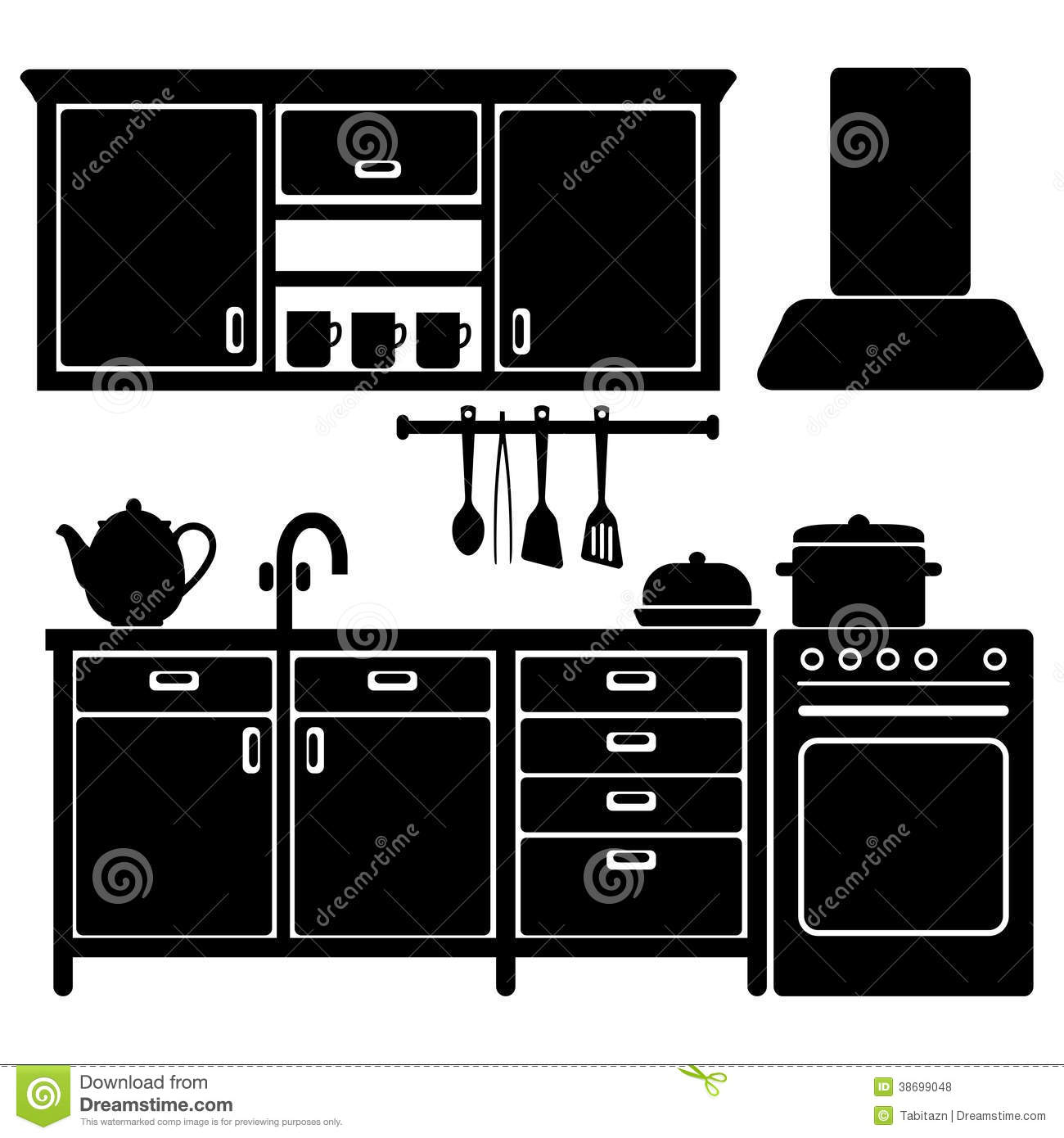 Set Of Black Kitchen Icons Utensils Stock Vector