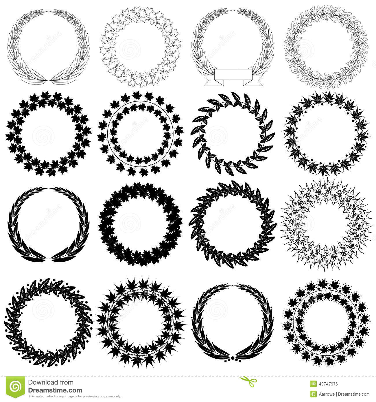 Black and white floral wreath stock vector image 65241515 - Set Black Laurel Wreath On The White Background Stock Vector Image