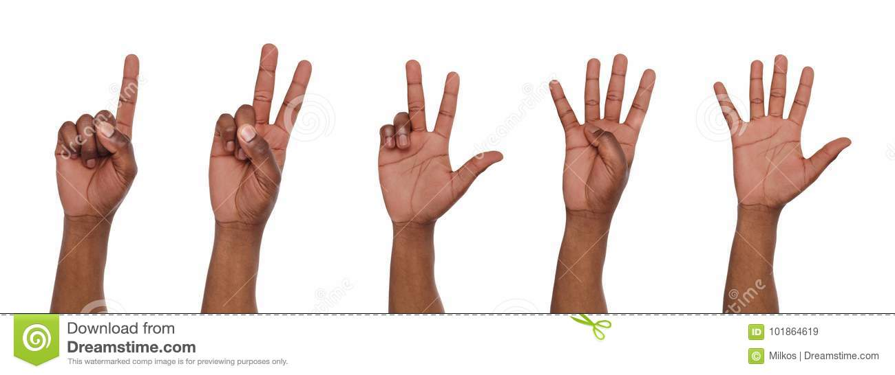 Set of black man`s hands. Male hand show figures, counting