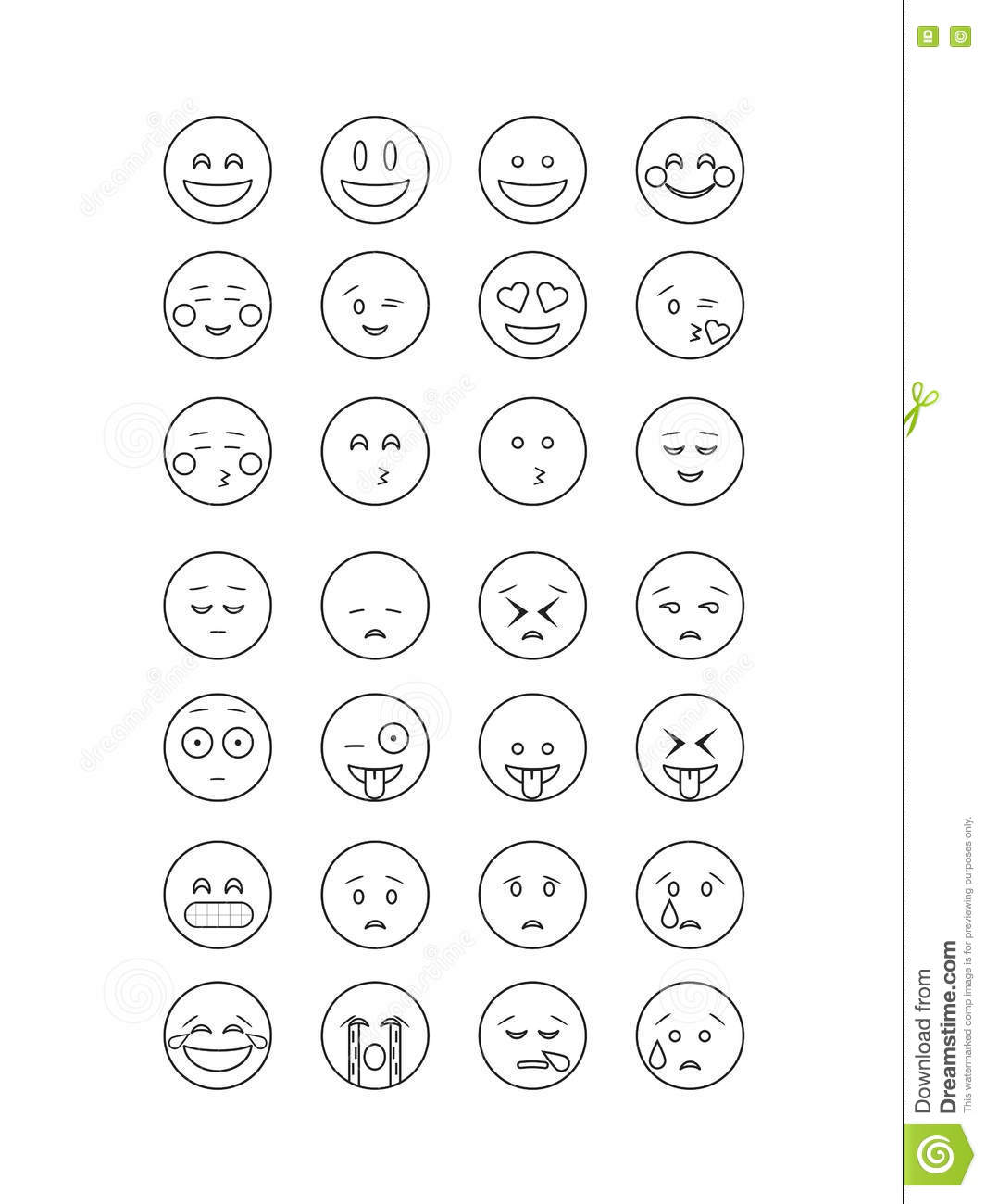 set of black outline emoticon vector isolated on white background  emoji vector  stock vector