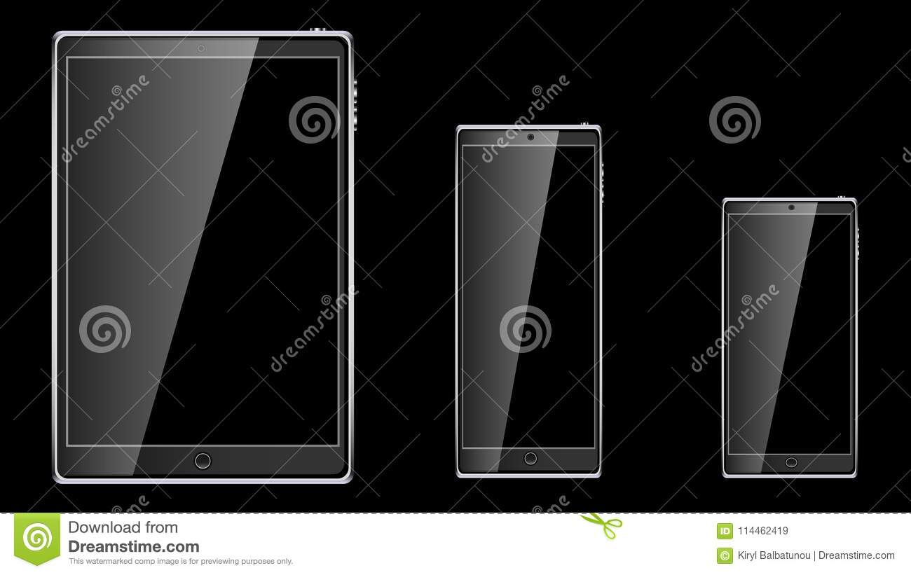 Set of black realistic tablet computer mobile touch smart mobile phone, smartphone with glossy blank empty screen isolated on blac