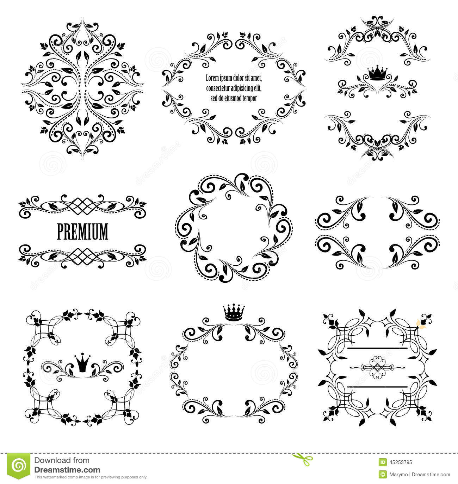 set of black retro styled ornamental designs stock vector