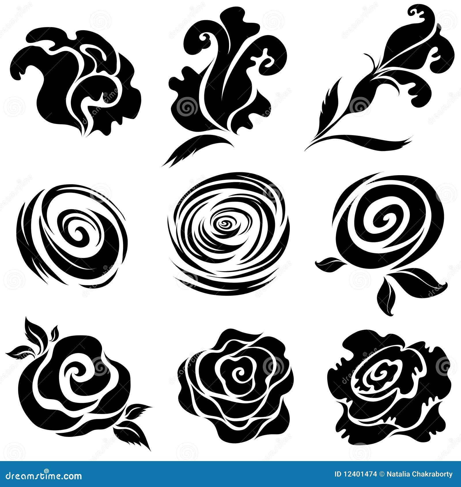 Set Of Black Flower Design Elements Vector Illustration: Set Of Black Rose Flower Design Elements Stock Vector