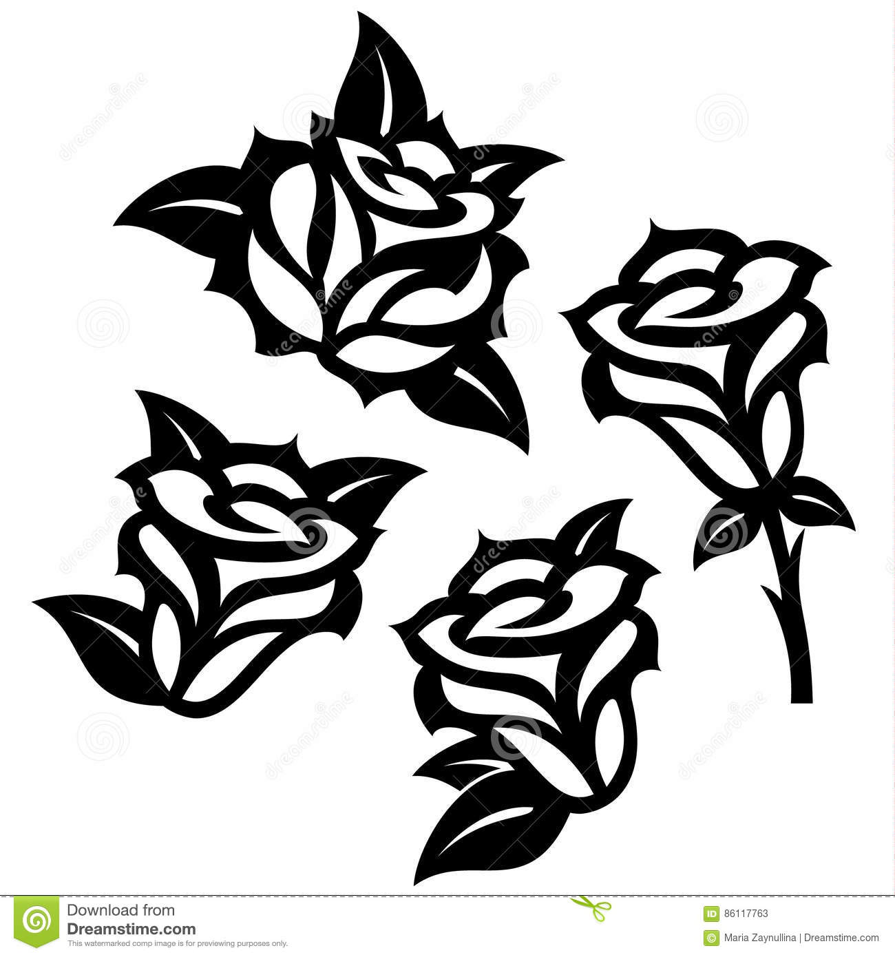 Set Of Black Roses Templates Designs Stock Vector Illustration Of