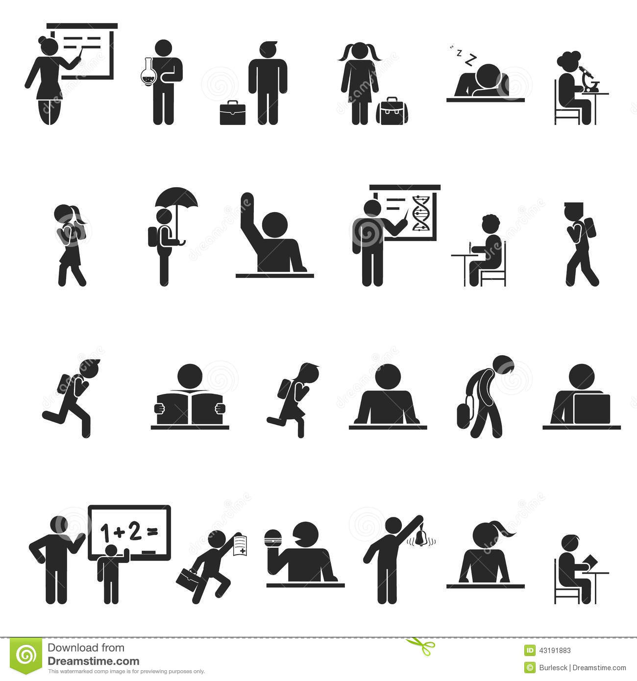 Set Of Black School Children Silhouette Icons Stock Vector ...