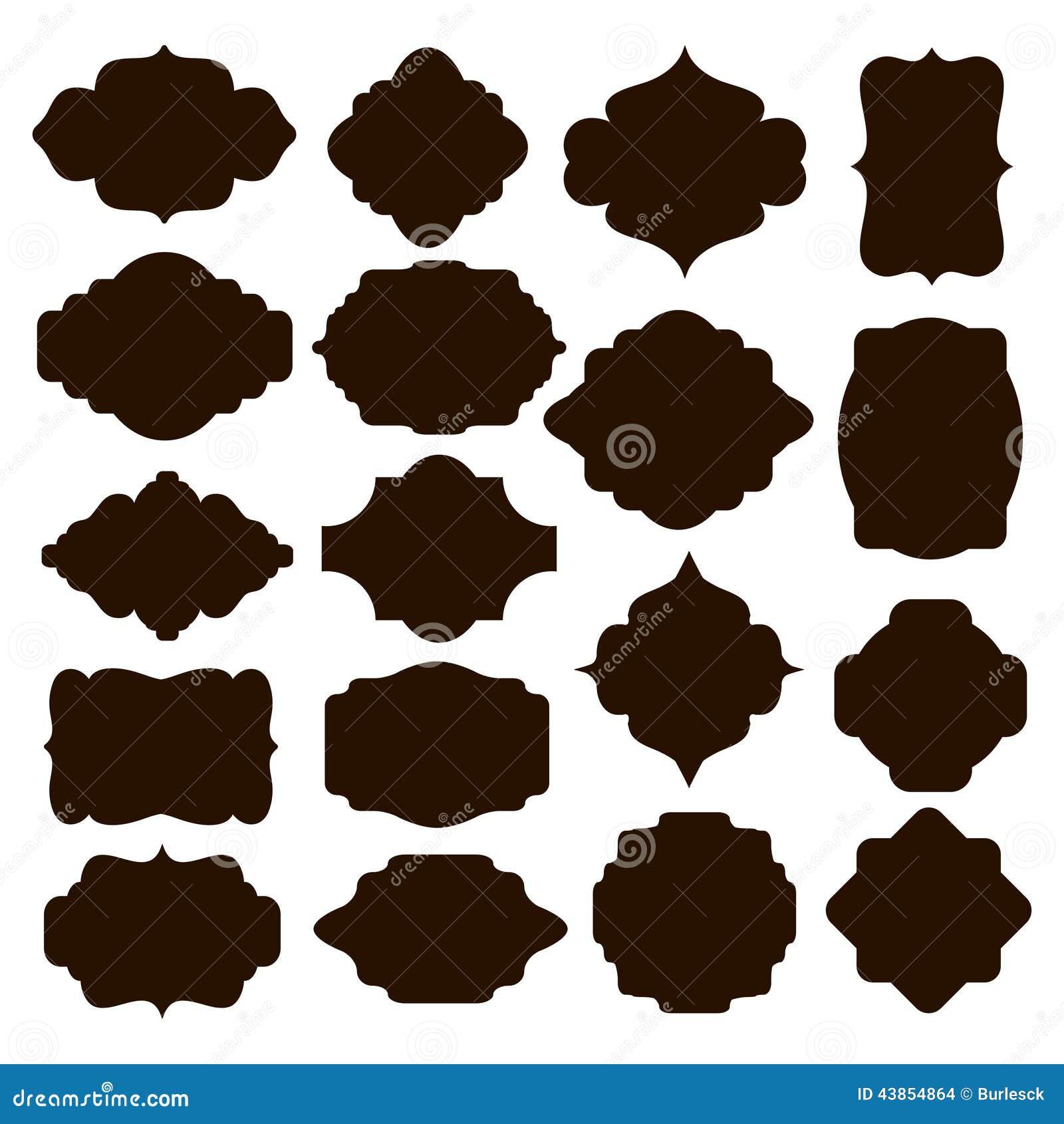 Set Of Black Silhouette Frames For Badges Stock Vector