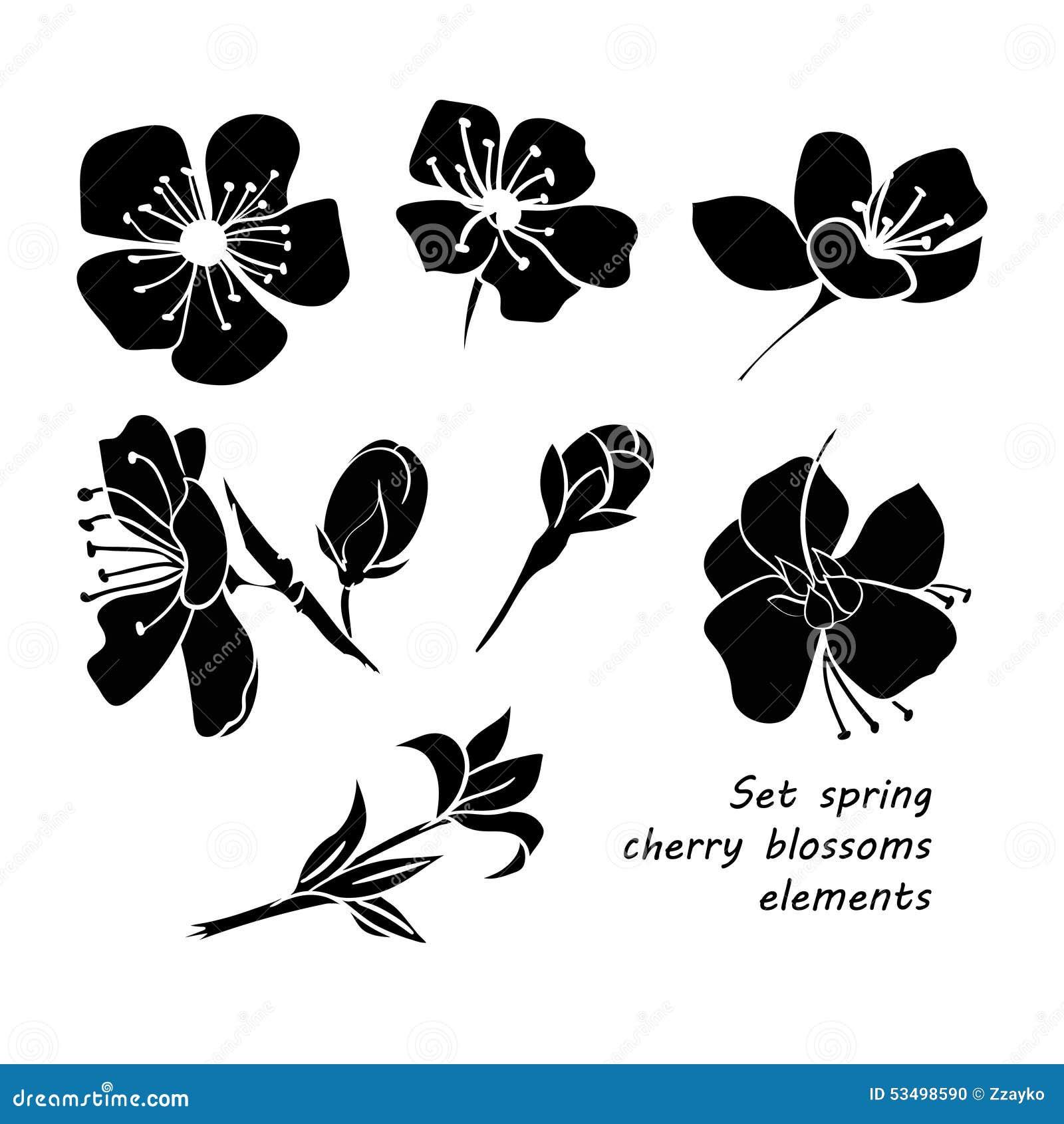 Set Of Black Silhouette Spring Cherry Blossom Flowers ...