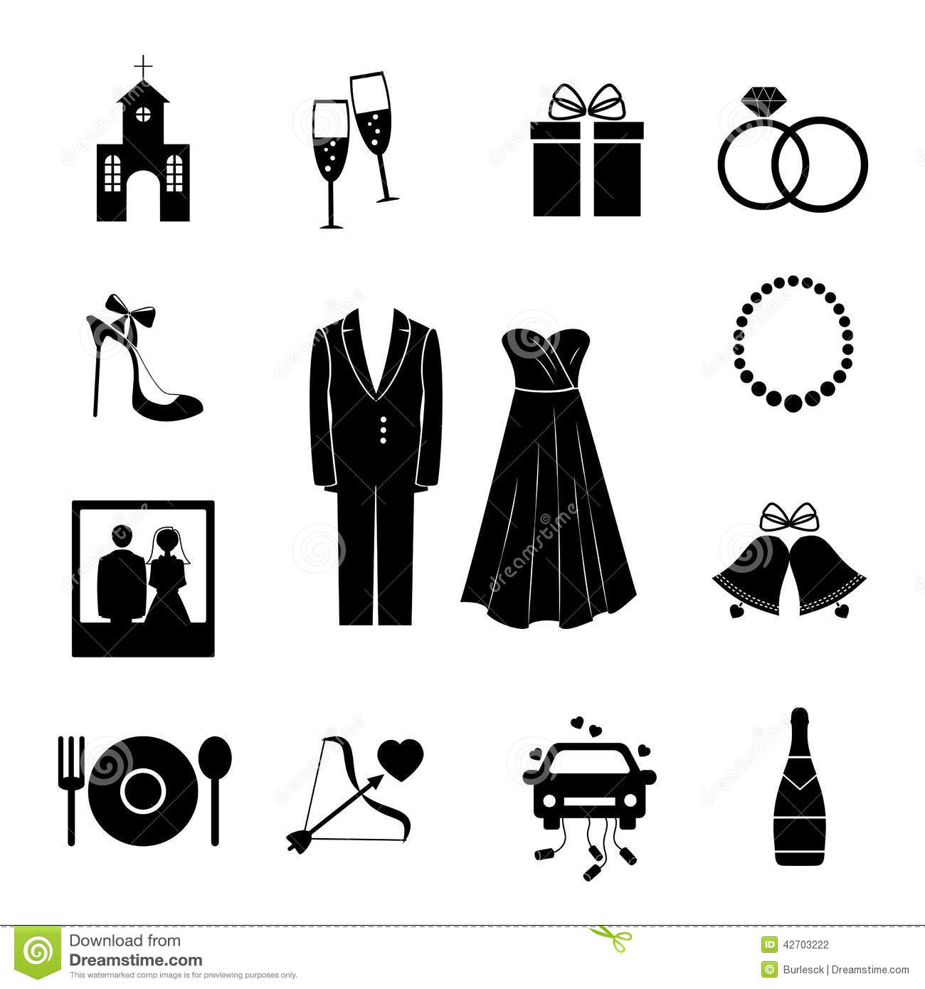 Wedding Hair Style Black Vector Art: Set Of Black Silhouette Wedding Icons Stock Vector