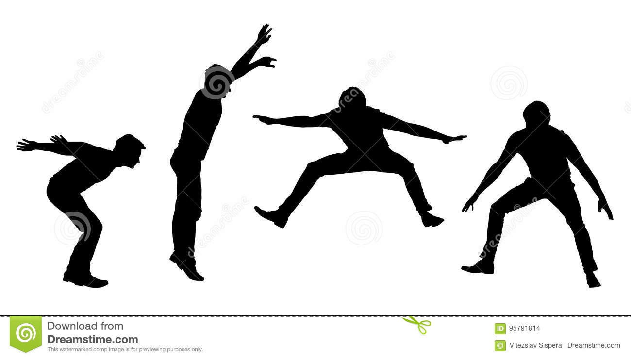 Set of black silhouettes jumping young man in motion on white background