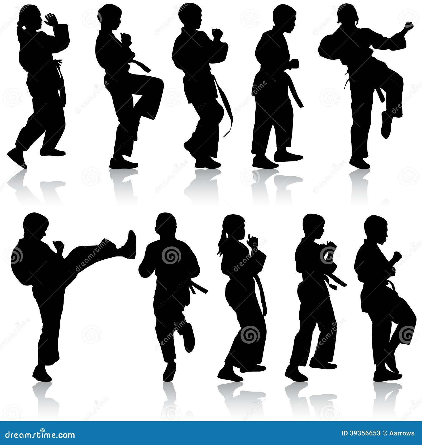 Set Of Black Silhouettes Of Karate. Sport Cartoon Vector ...