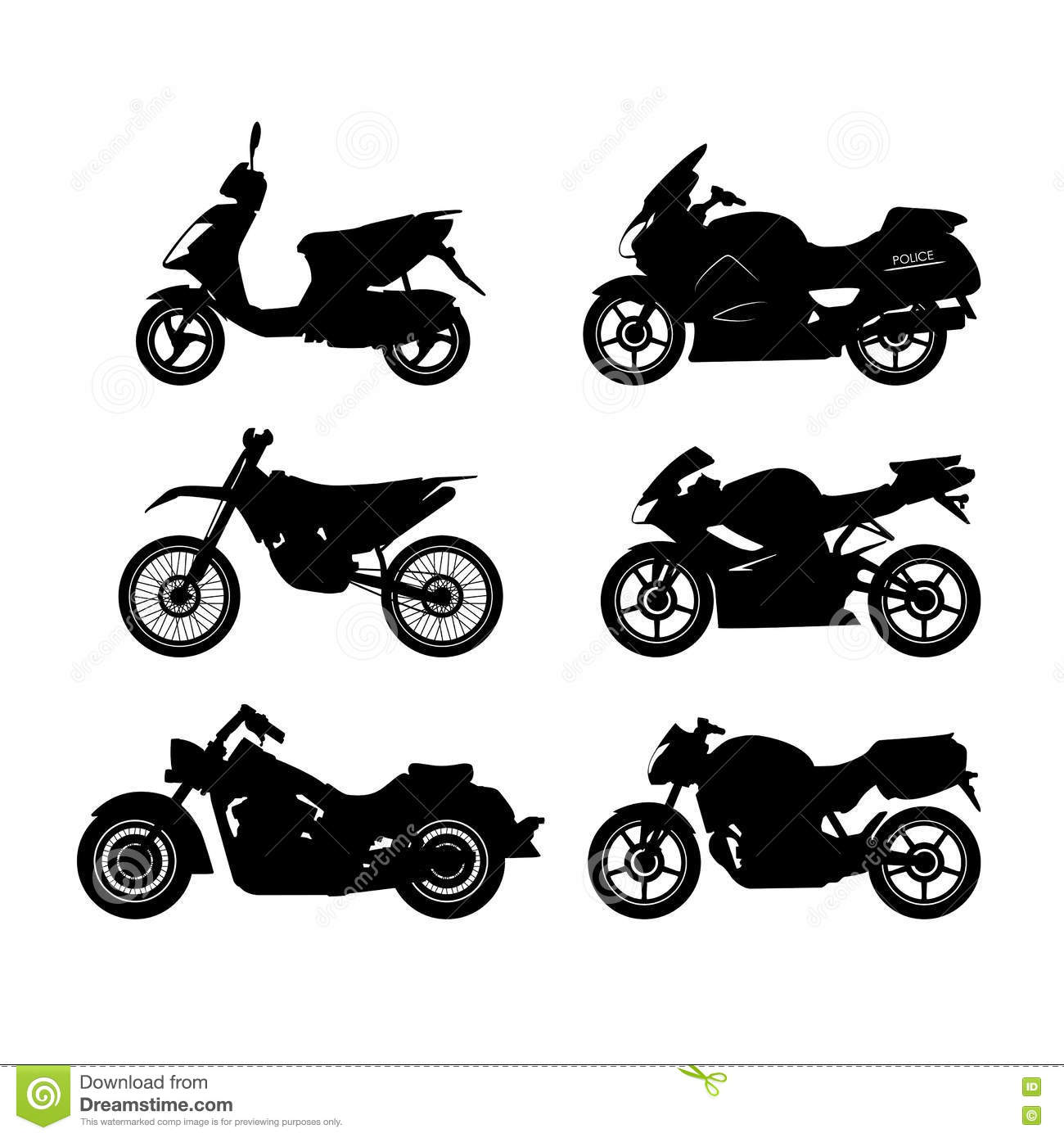 set of black silhouettes of motorcycles on a white