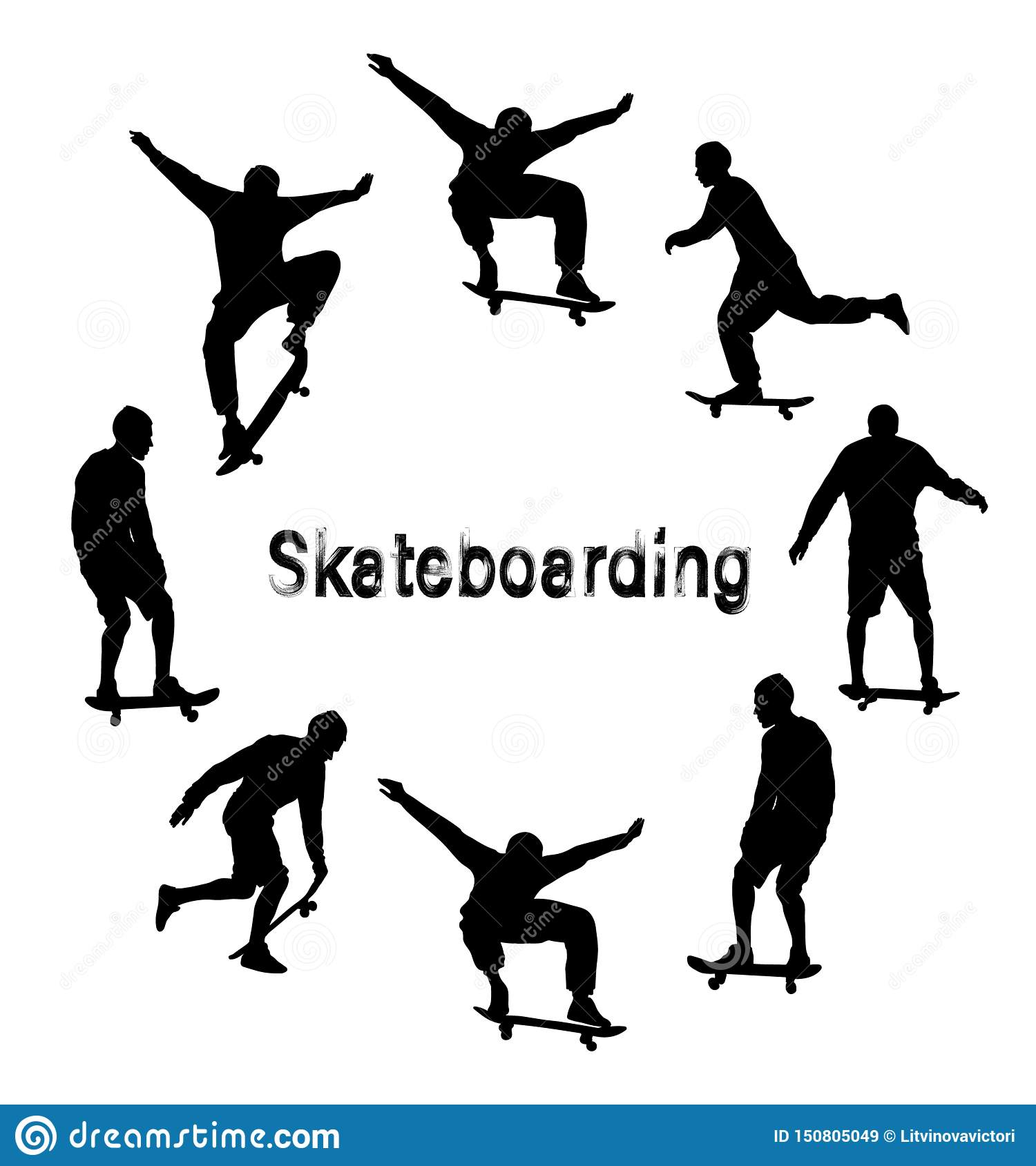Set of black skateboarder silhouettes. Grunge style textured text