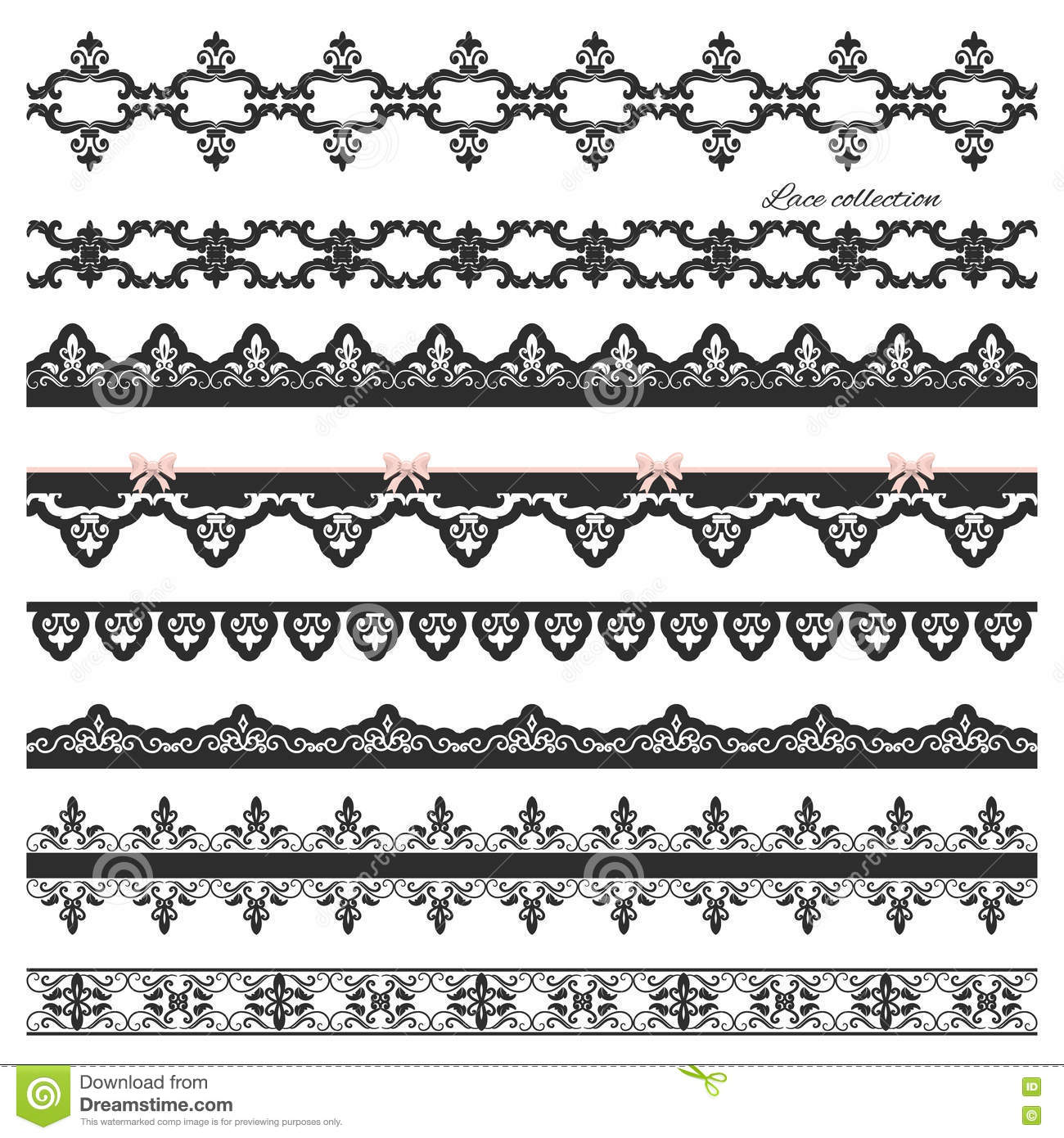 Set Of Black Straight Lace Lines Borders Stock Vector