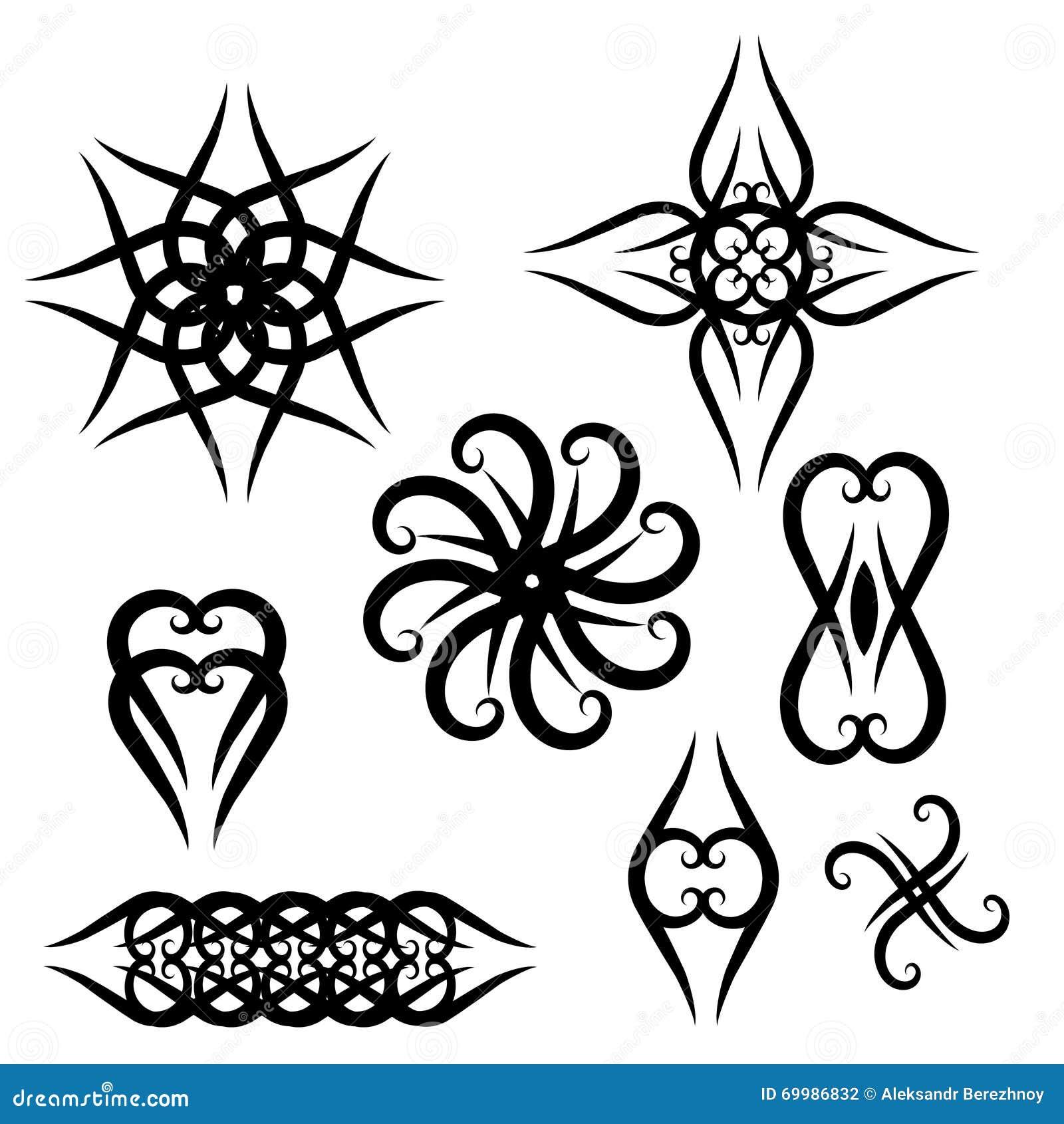 set black for tattoo designs stock vector image 69986832. Black Bedroom Furniture Sets. Home Design Ideas