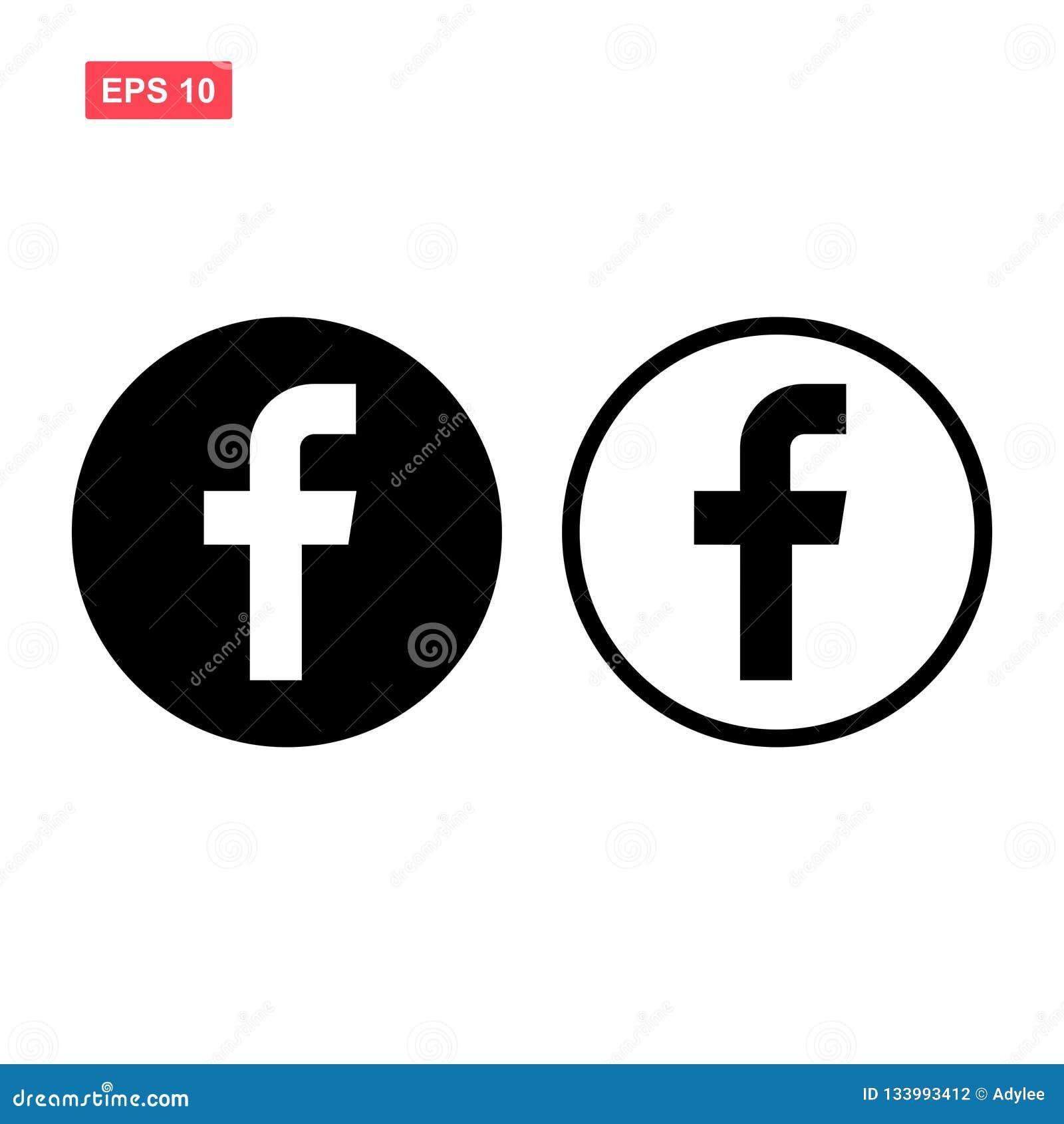 Set of black vector facebook icon