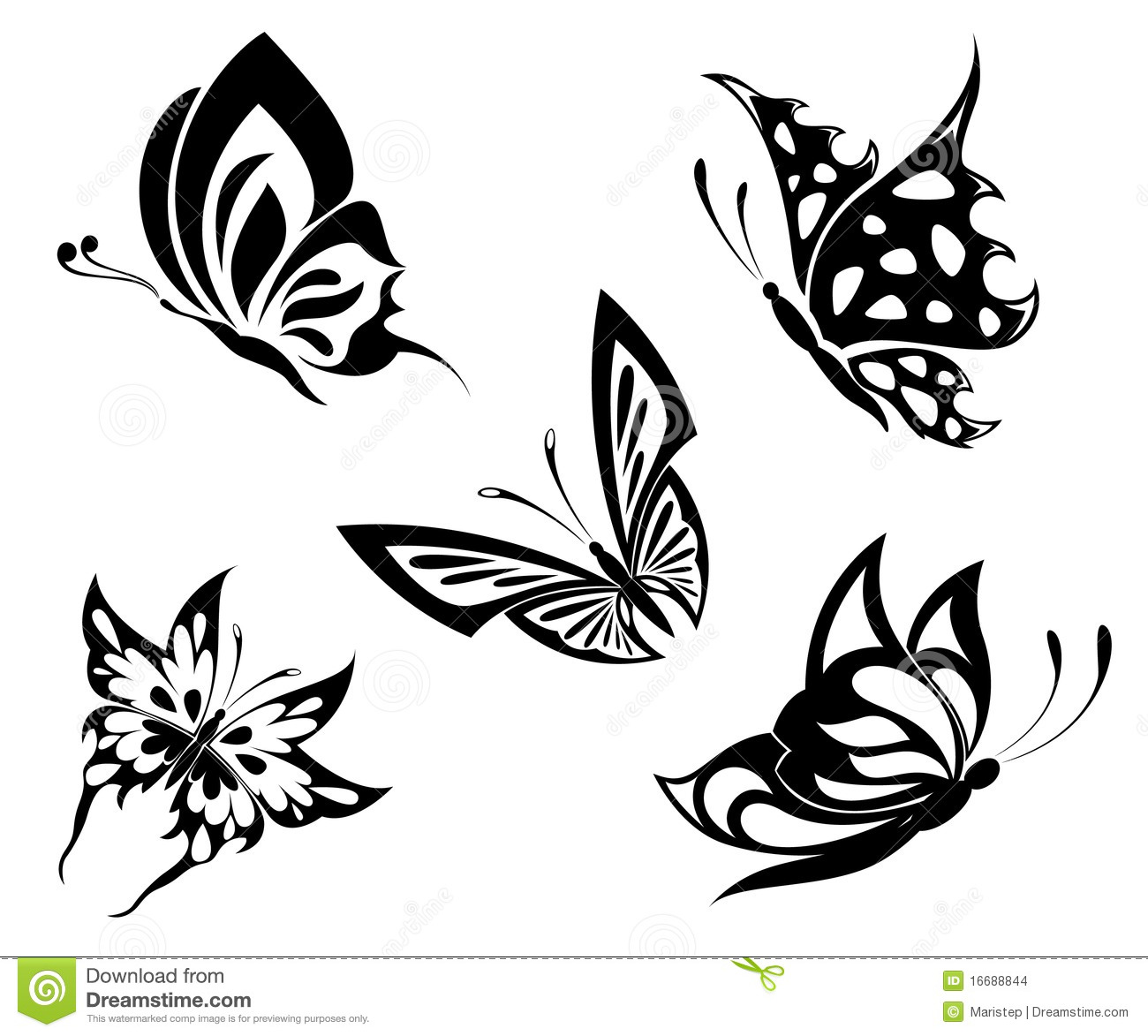 Set Black White Butterflies Of A Tattoo Stock Images Image 16688844
