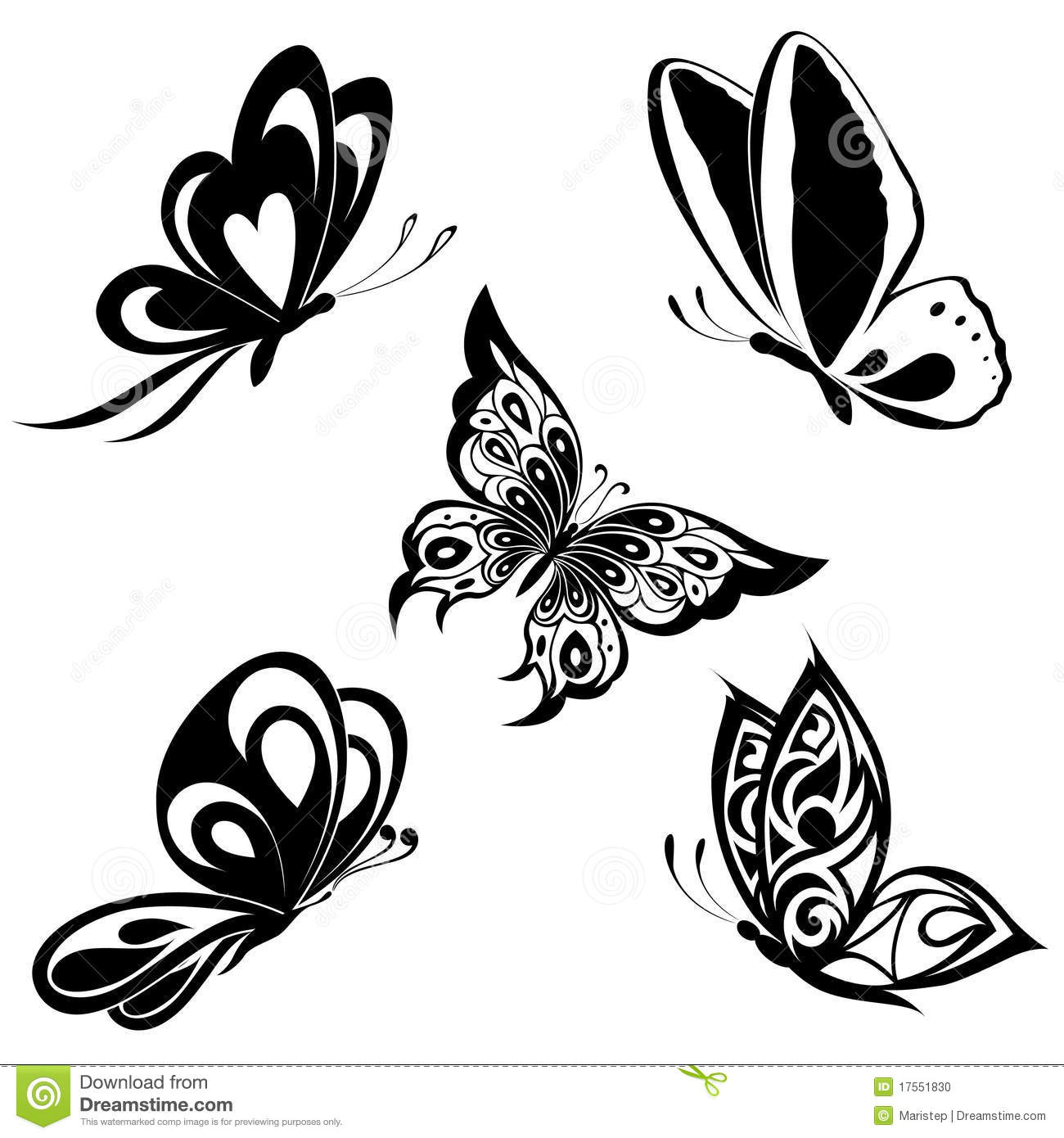 Tattoo Art Black And White: Set Black White Butterflies Of A Tattoo Stock Vector