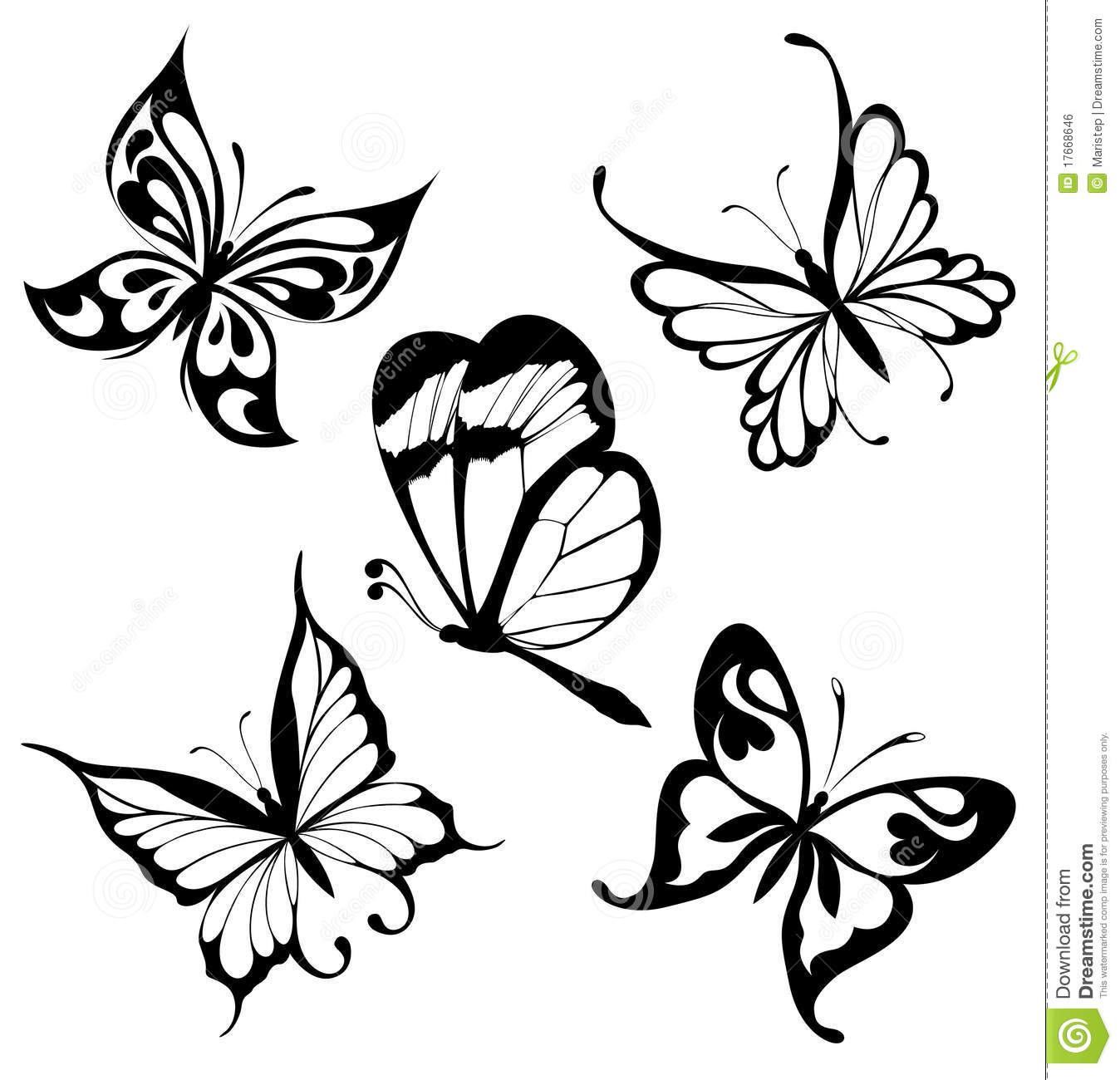 d8316e1e734f3 Black a white set of butterflies of tattoos. Designers Also Selected These Stock  Illustrations