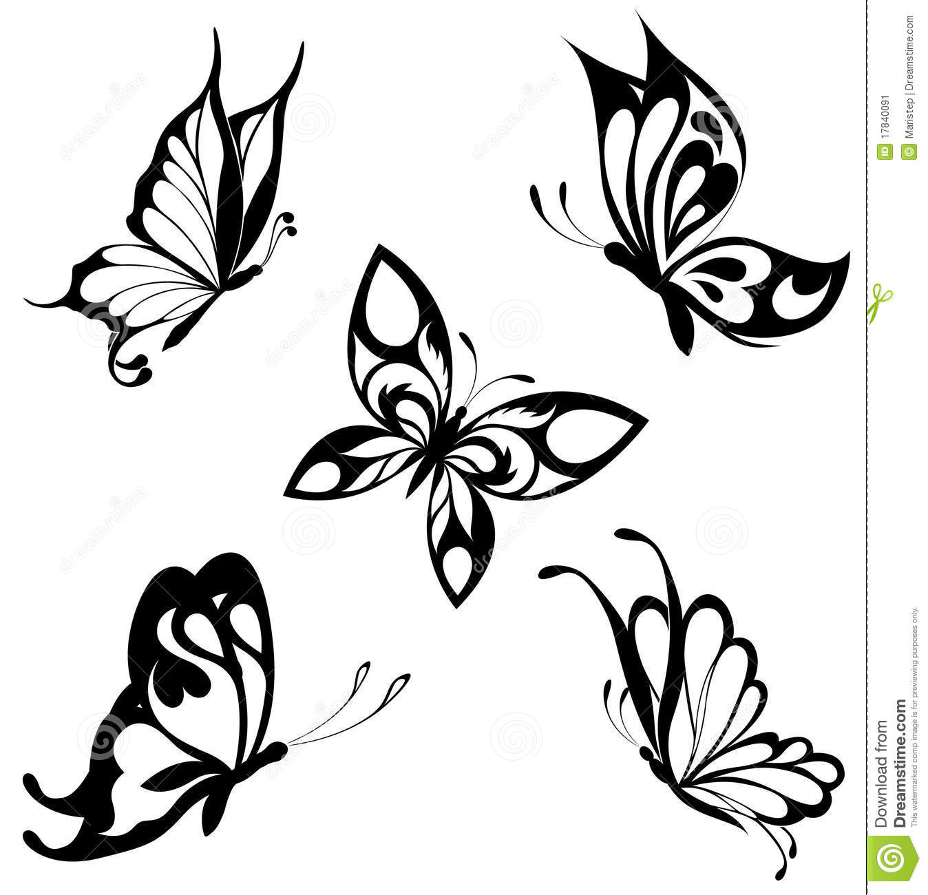 90ffded632819 Set Black White Butterflies Of A Tattoo Stock Vector - Illustration ...
