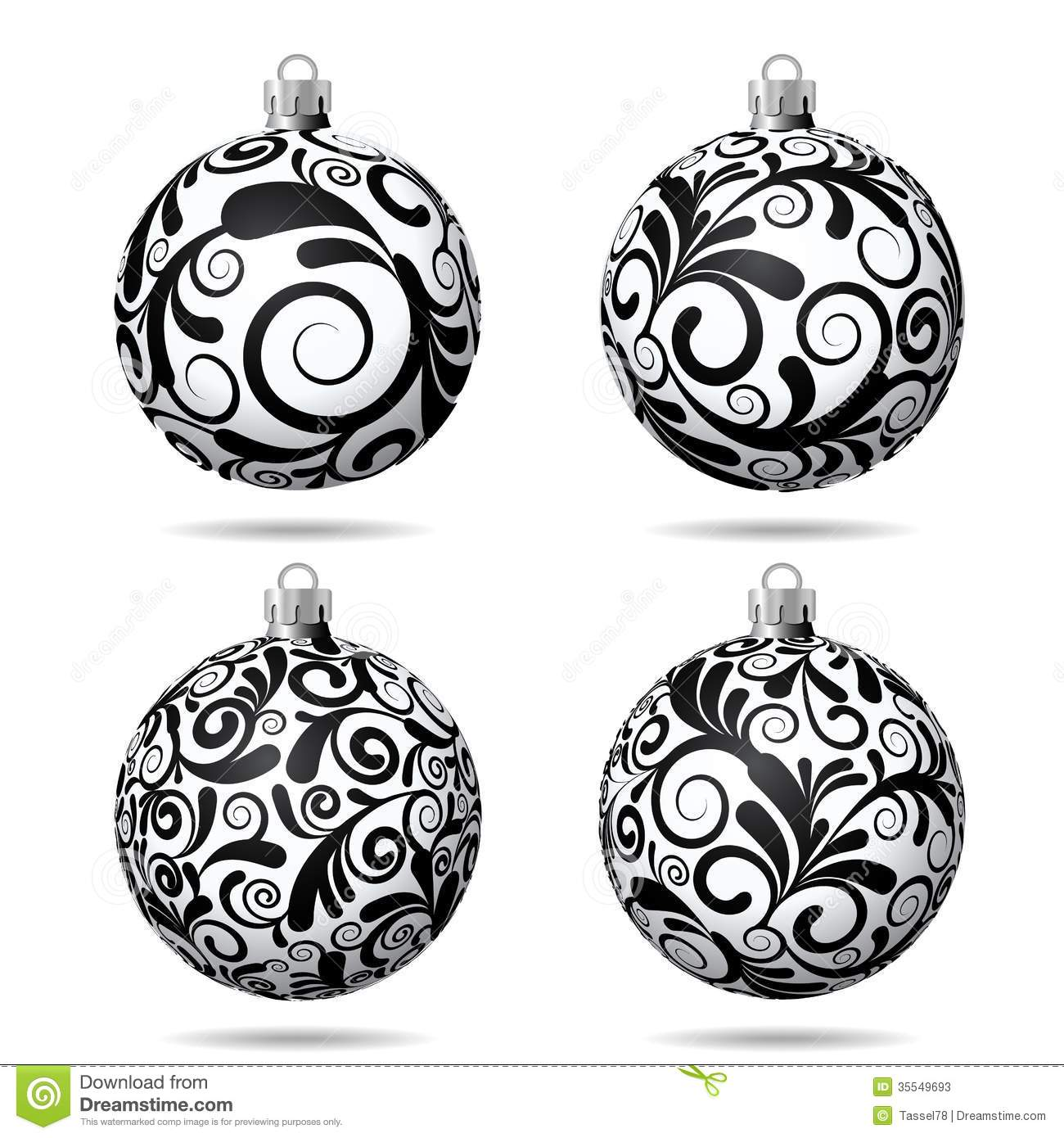 Set of black and white christmas balls stock vector