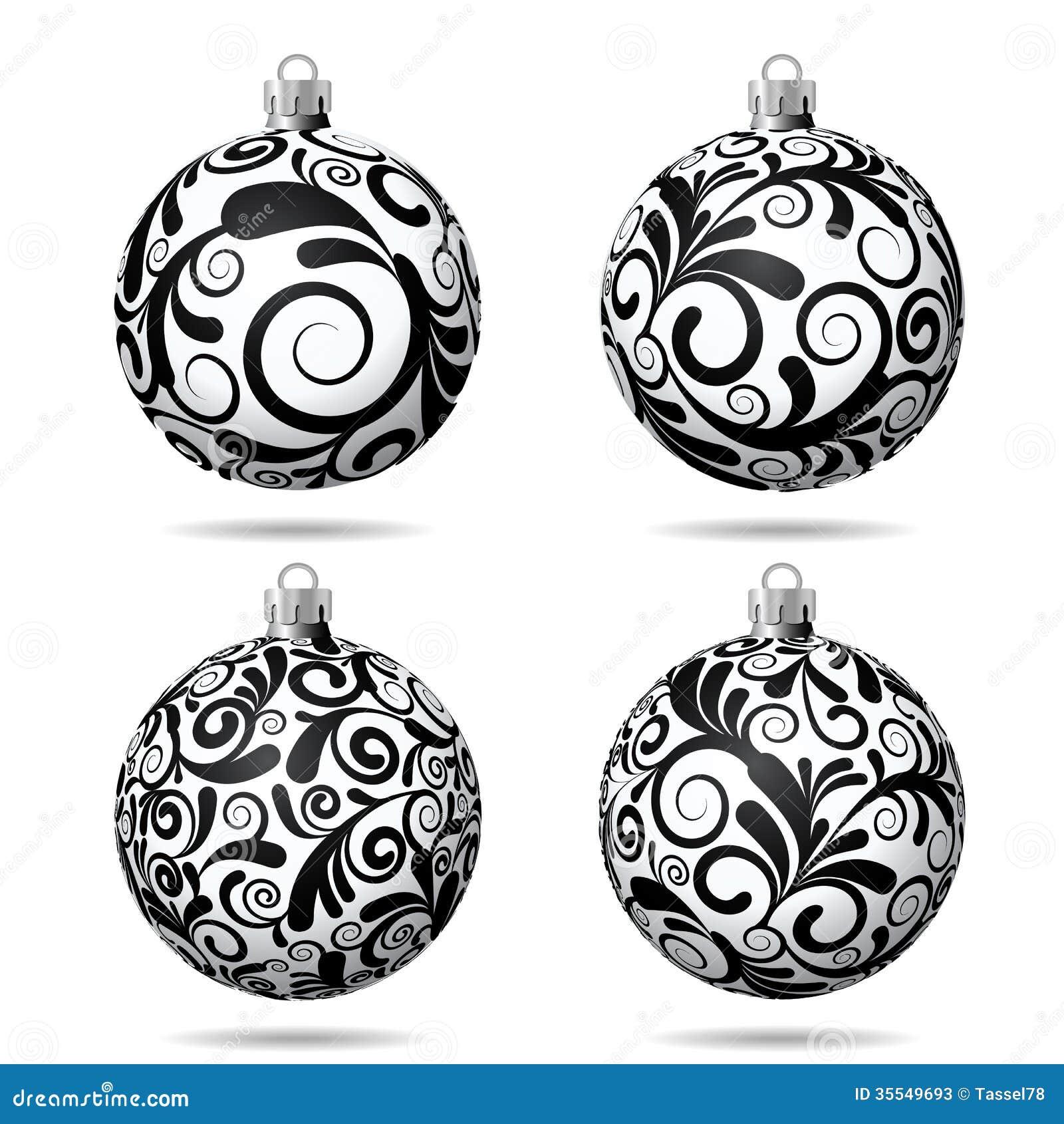 Set Of Black And White Christmas Balls Stock Photos - Image: 35549693