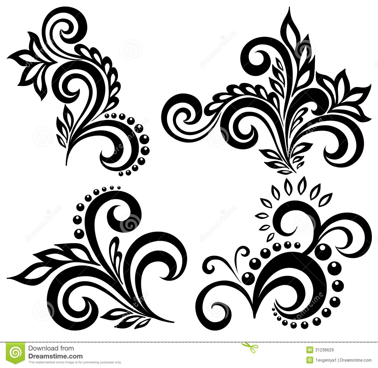 Six Black Flower Design Stock Images: Set Of Black And White Floral Elements Stock Vector