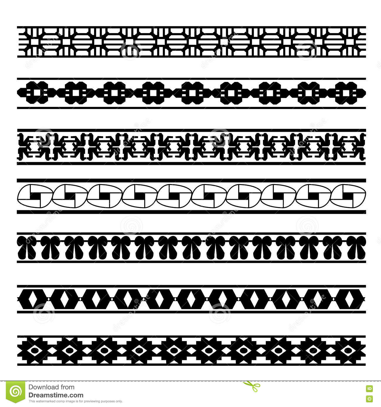 Set Of Black And White Geometrical Element Lines Stock Vector